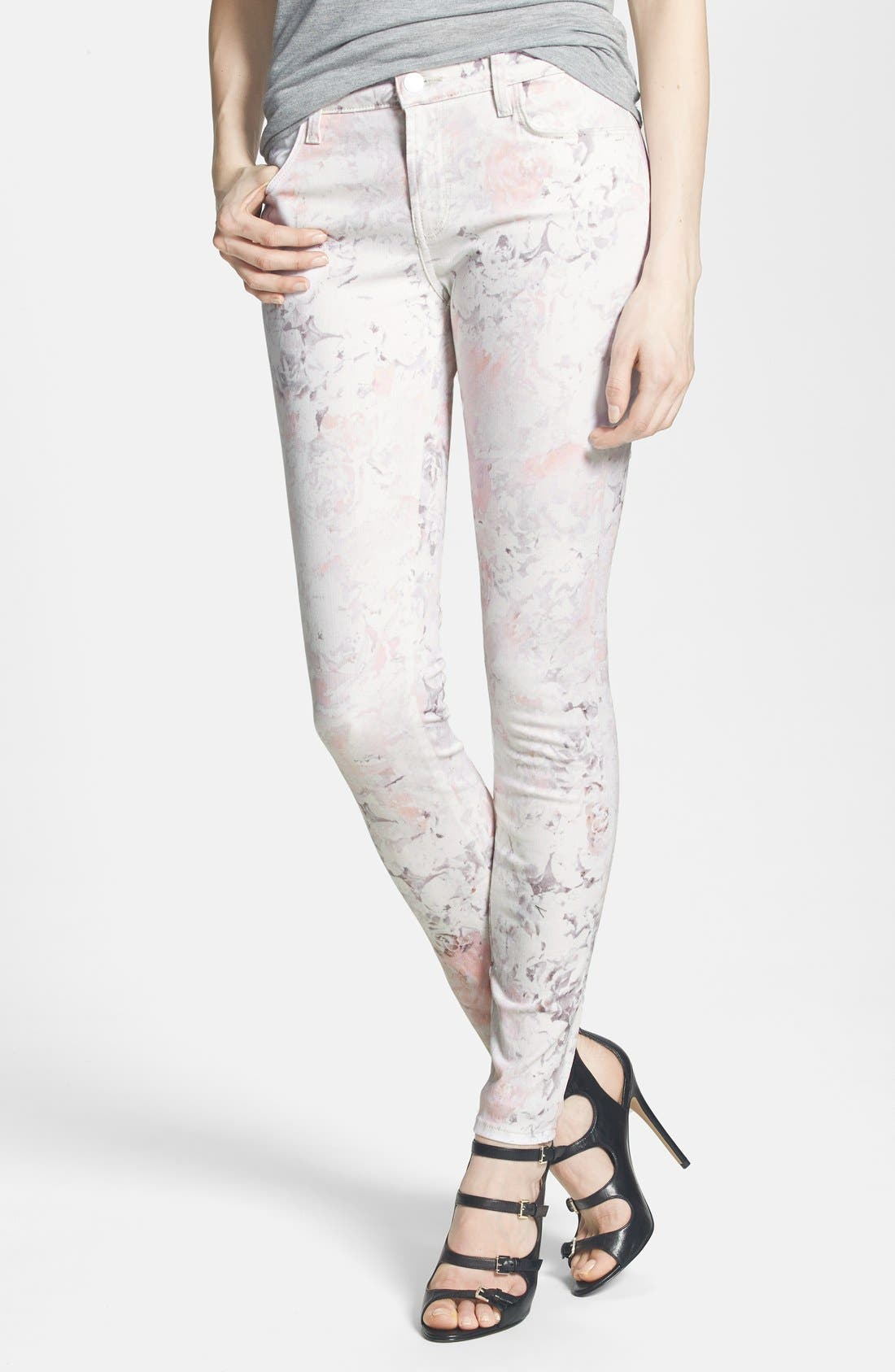 Alternate Image 1 Selected - J Brand Print Super Skinny Jeans (Ghost Rose)