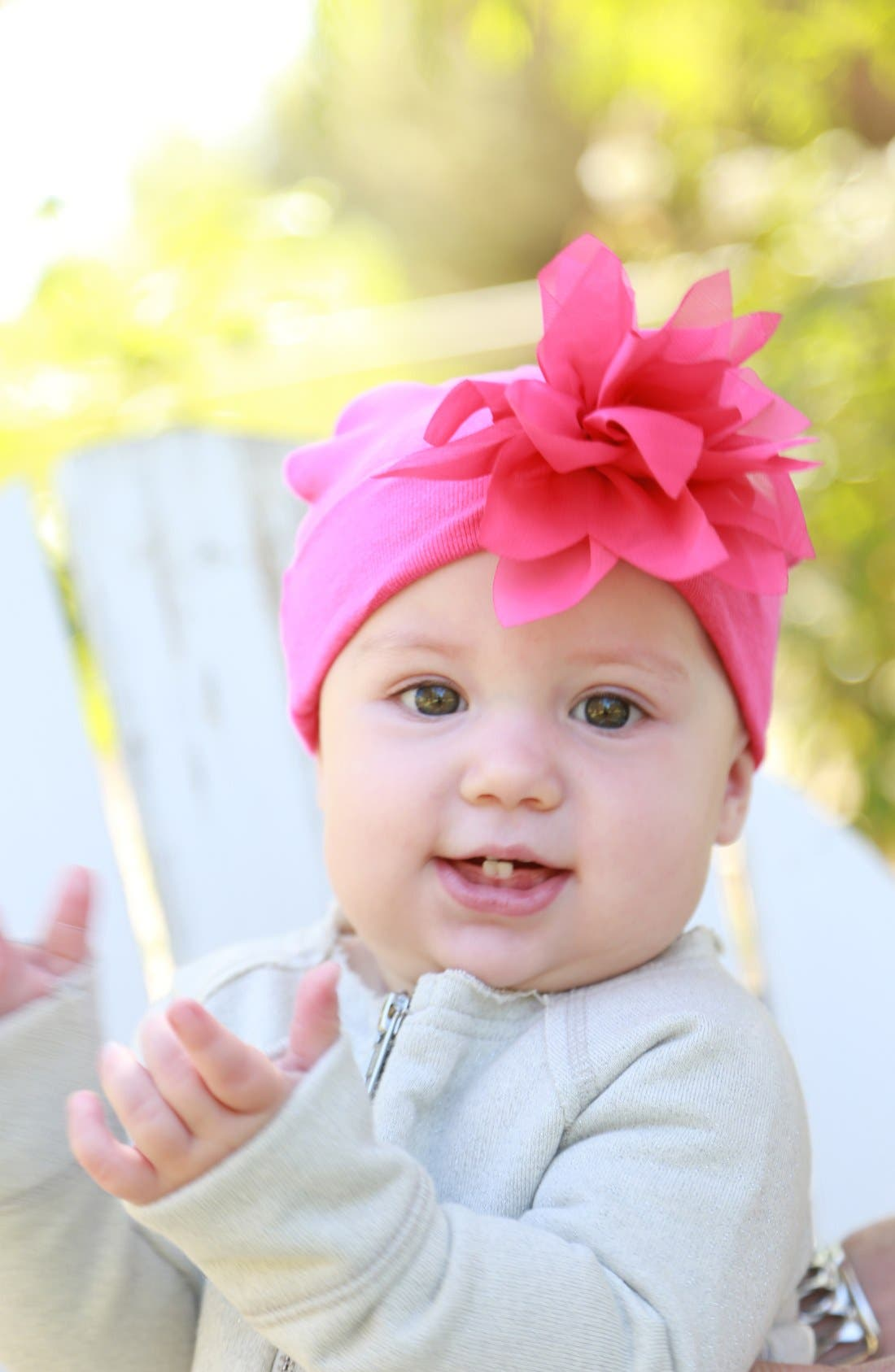 Main Image - PLH Bows & Laces Flower Embellished Knit Hat (Baby Girls)