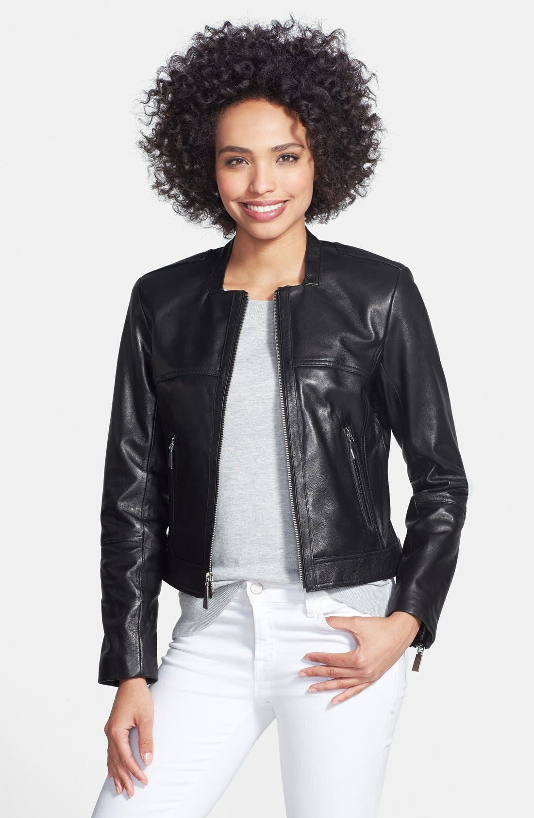 Main Image - Vince Camuto Collarless Leather Jacket