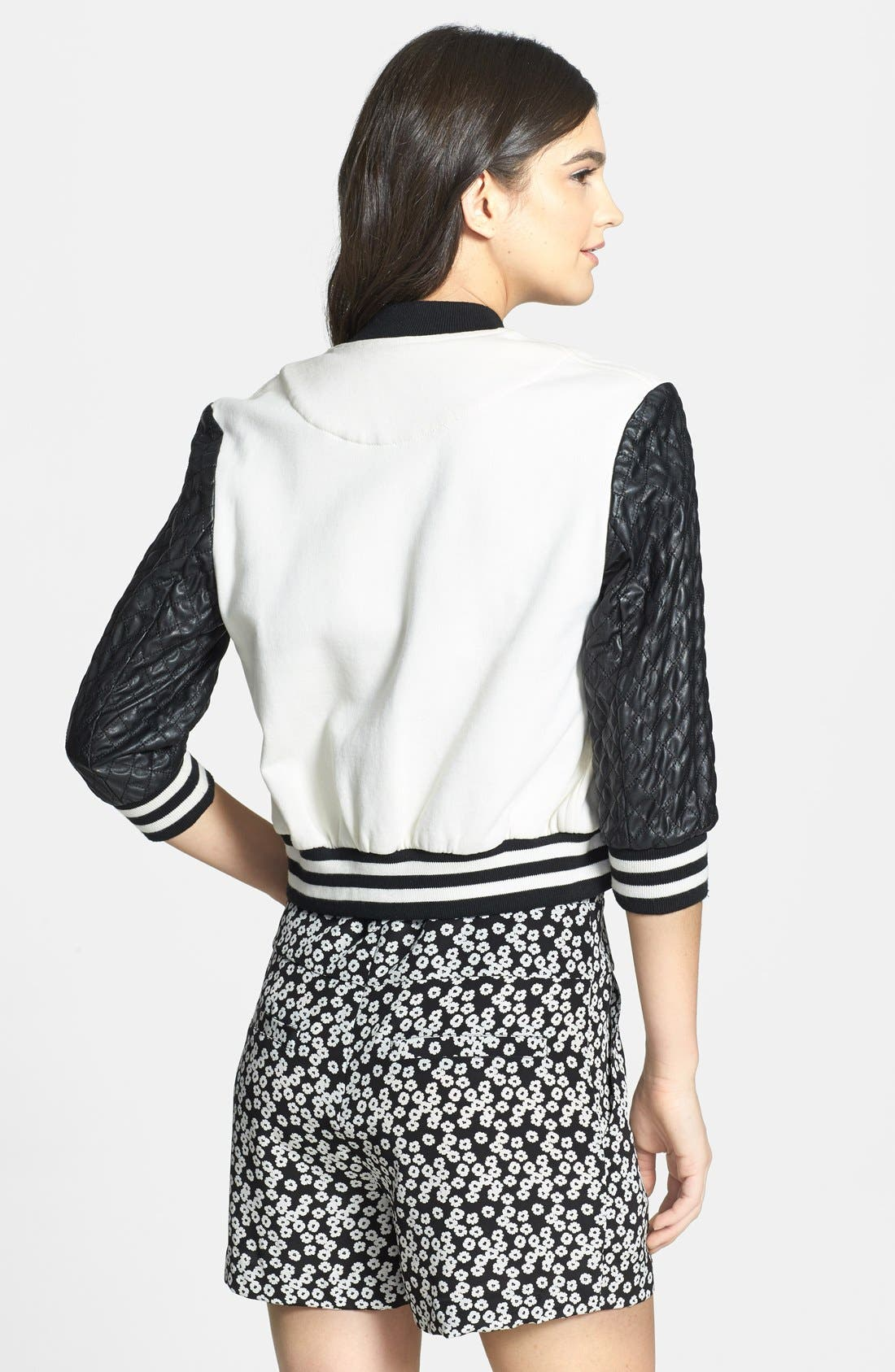 Alternate Image 2  - Pam & Gela Quilted Faux Leather Bomber Jacket