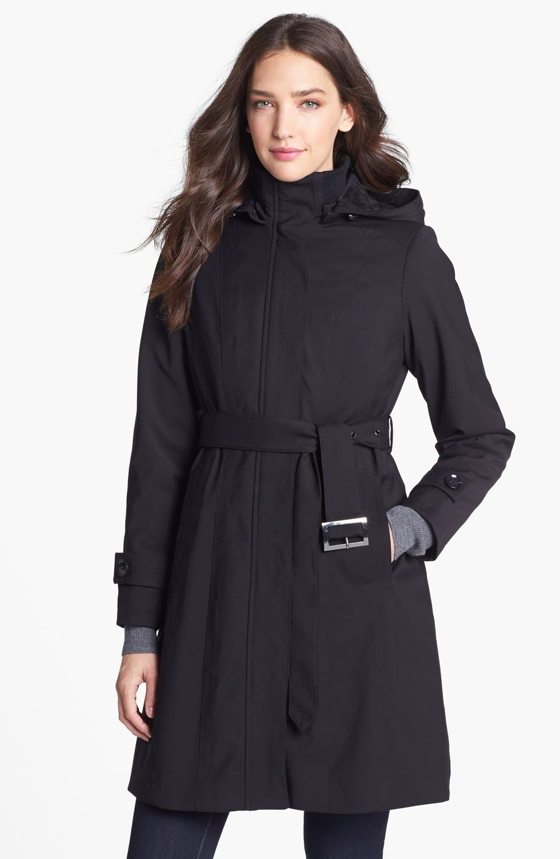 Alternate Image 1 Selected - Kristen Blake Raincoat with Detachable Hood & Liner (Petite) (Nordstrom Exclusive)