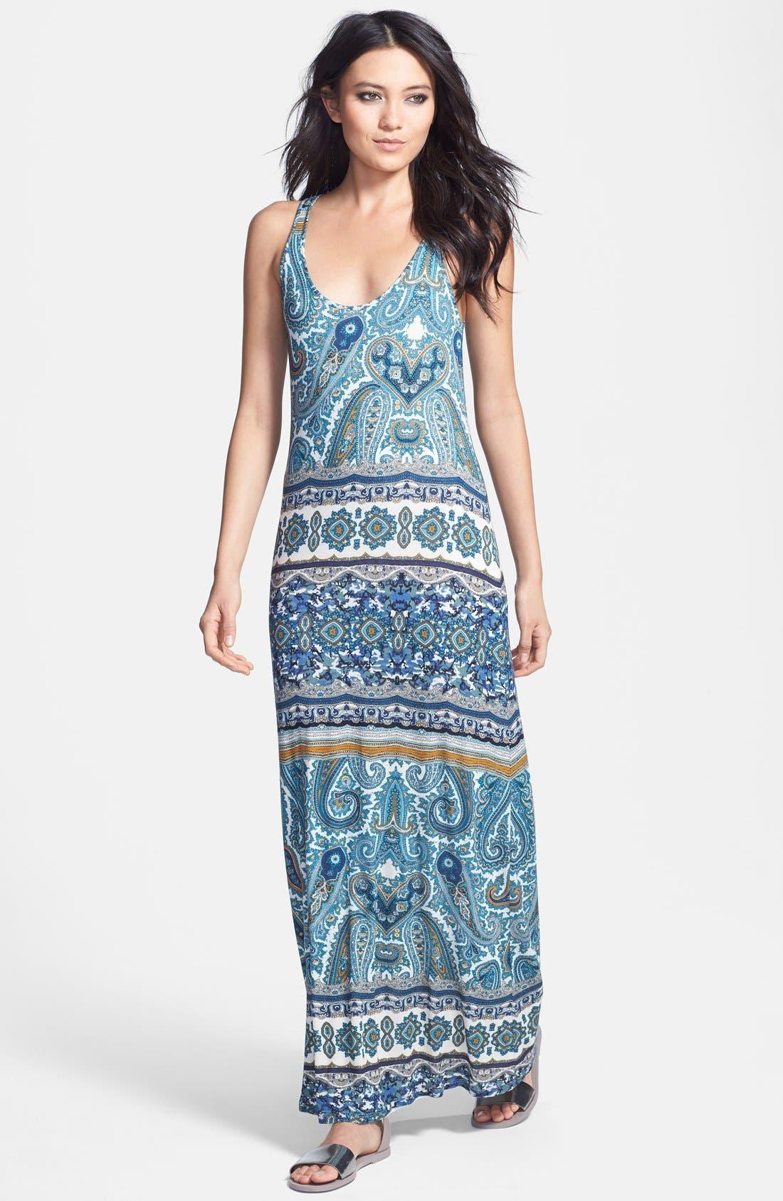 Main Image - Velvet by Graham & Spencer 'Taj' Paisley Print Jersey Maxi Dress