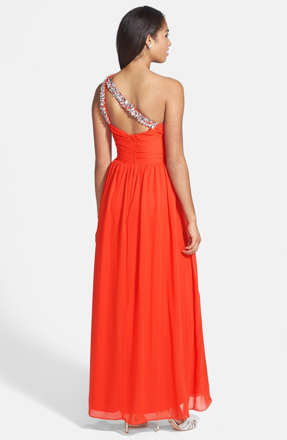 Alternate Image 2  - Hailey by Adrianna Papell Beaded One-Shoulder Chiffon Gown