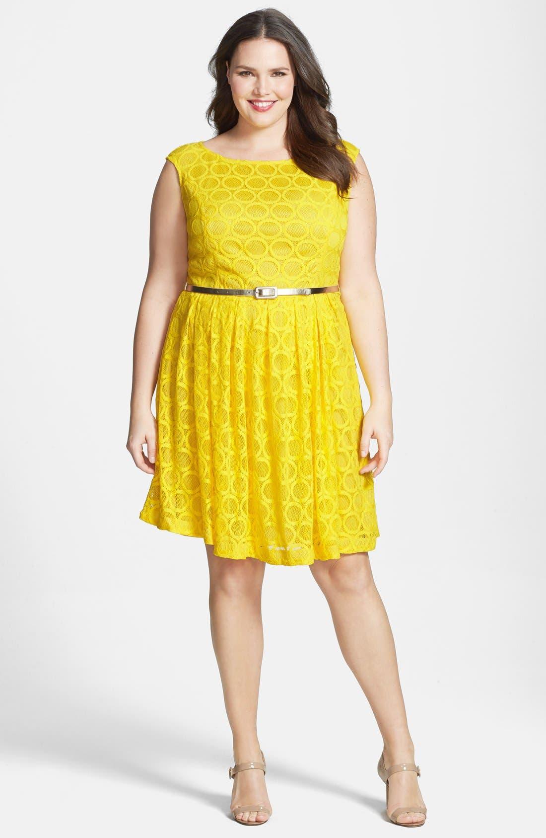 Main Image - London Times 'Circle' Lace Fit & Flare Dress (Plus Size)