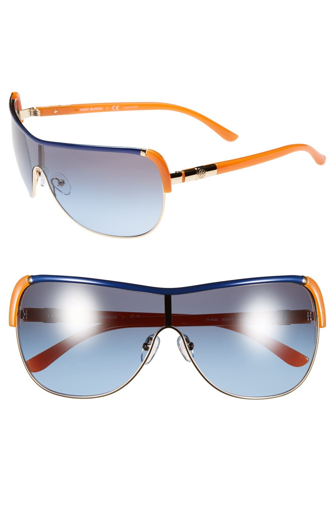 Alternate Image 1 Selected - Tory Burch 'Pilot' 34mm Metal Wrap Sunglasses