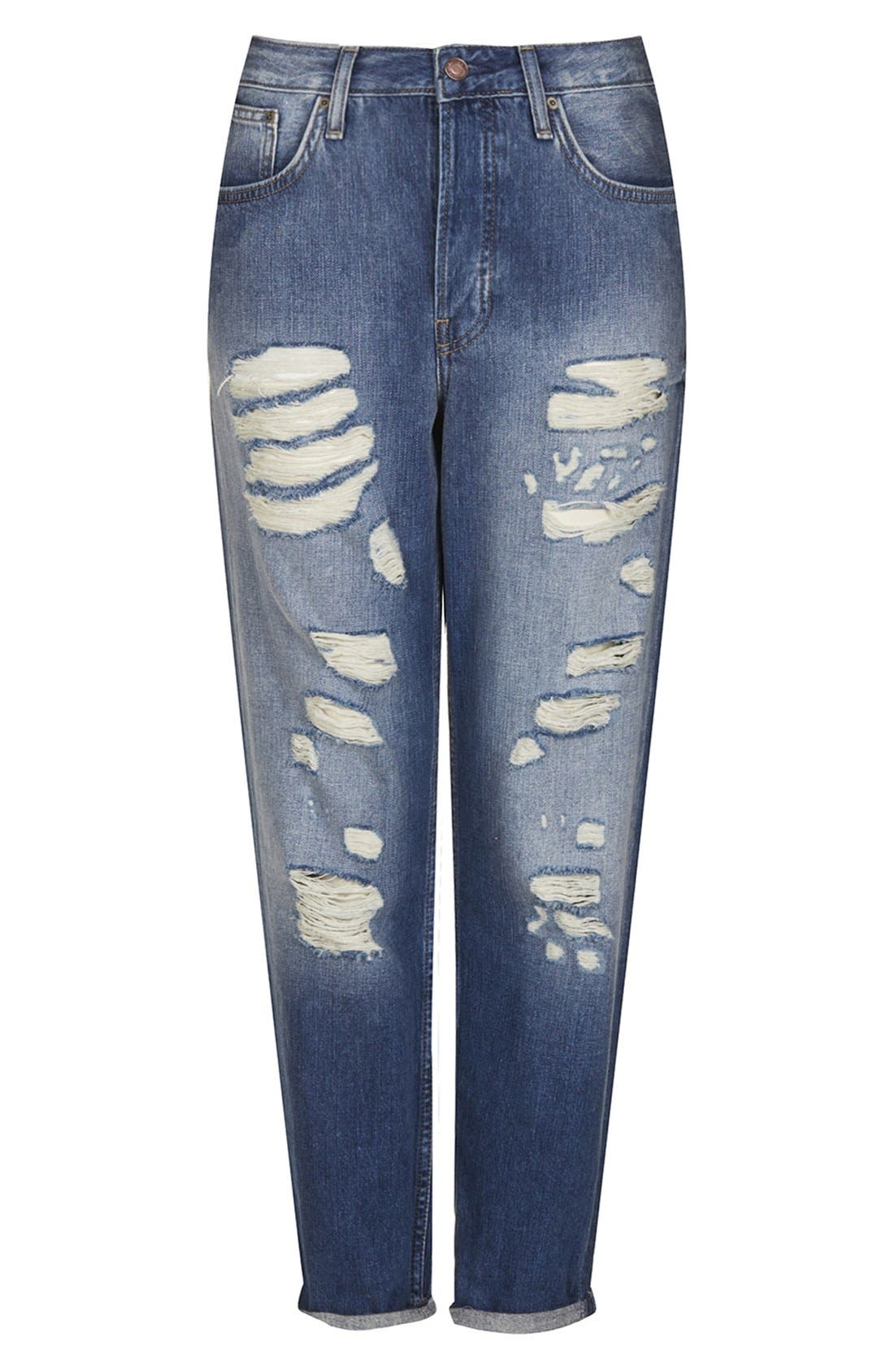 Alternate Image 3  - Topshop Moto 'Hayden' Destroyed Boyfriend Jeans (Mid Denim)