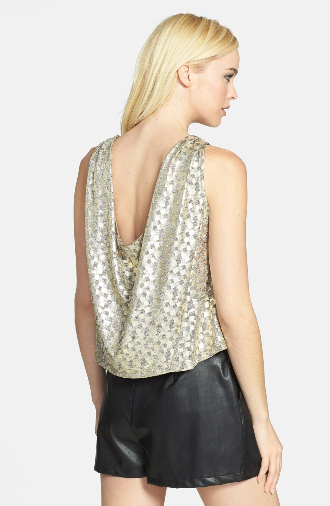 Alternate Image 2  - June & Hudson Metallic Drape Back Tank