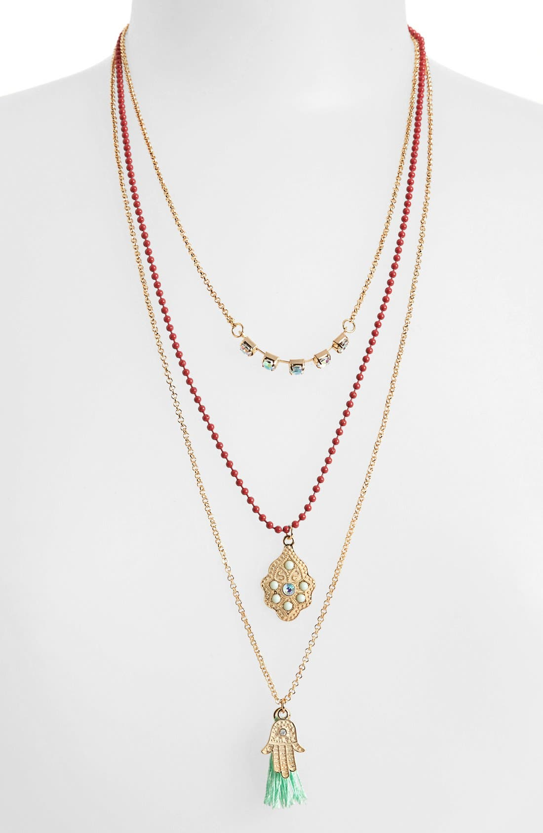 Main Image - Leith Multistrand Hamsa Necklace