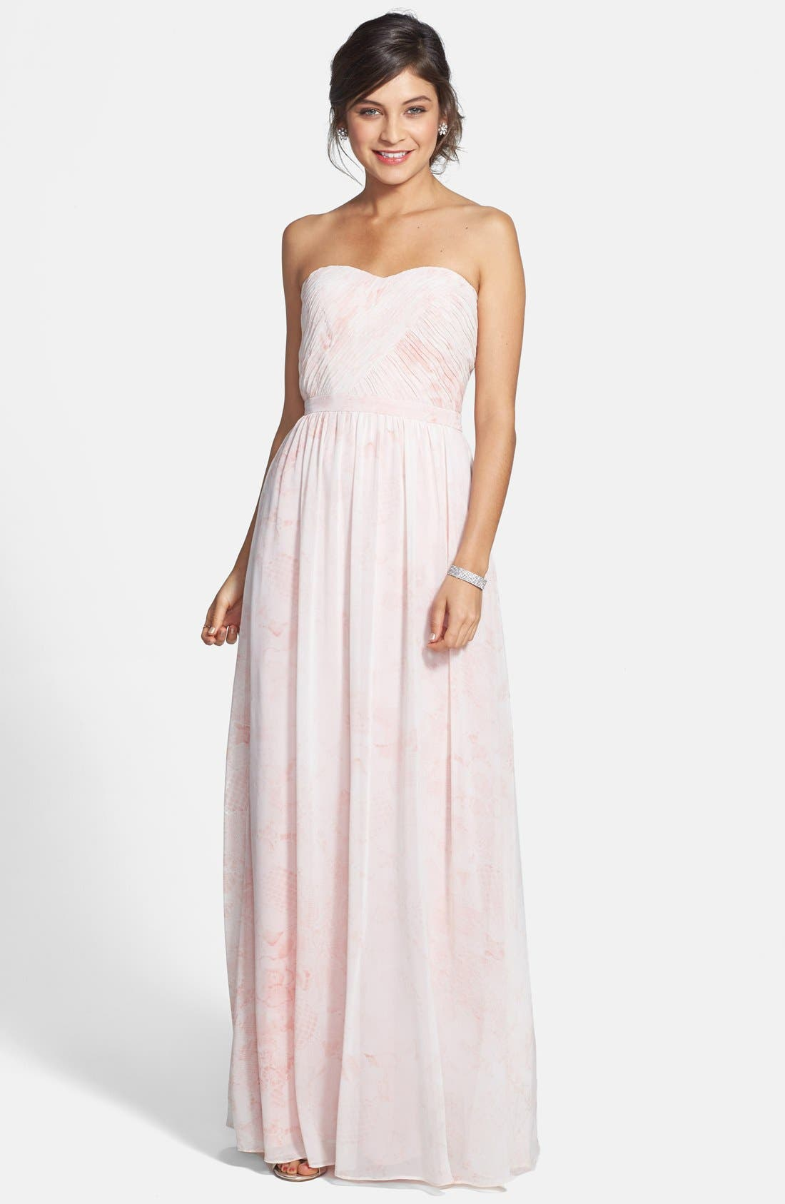 Main Image - ERIN erin fetherston 'Rose' Print Chiffon Strapless Gown