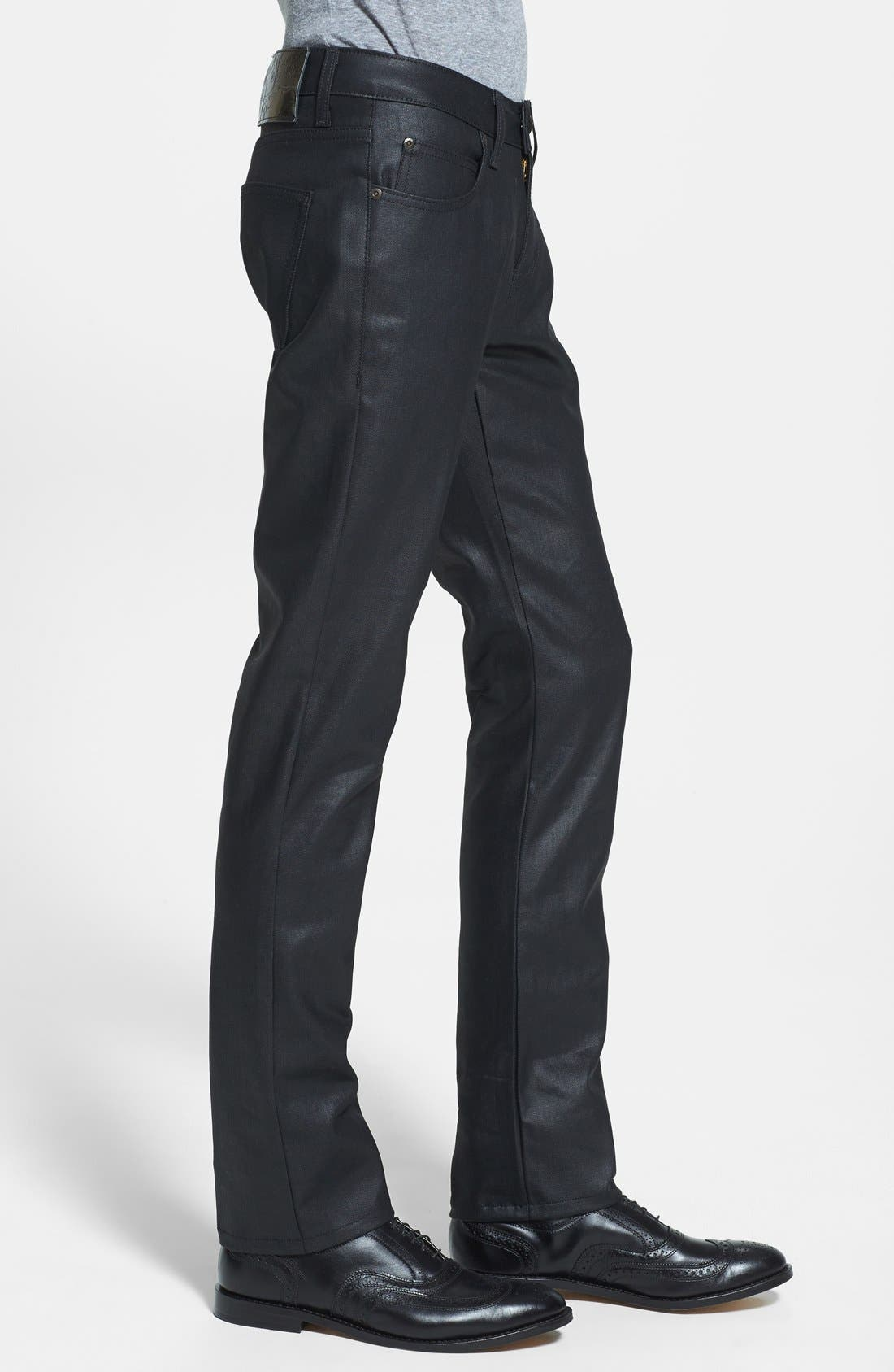 Alternate Image 3  - Naked & Famous Denim 'Skinny Guy' Skinny Fit Jeans (Wax Coated Black Stretch)