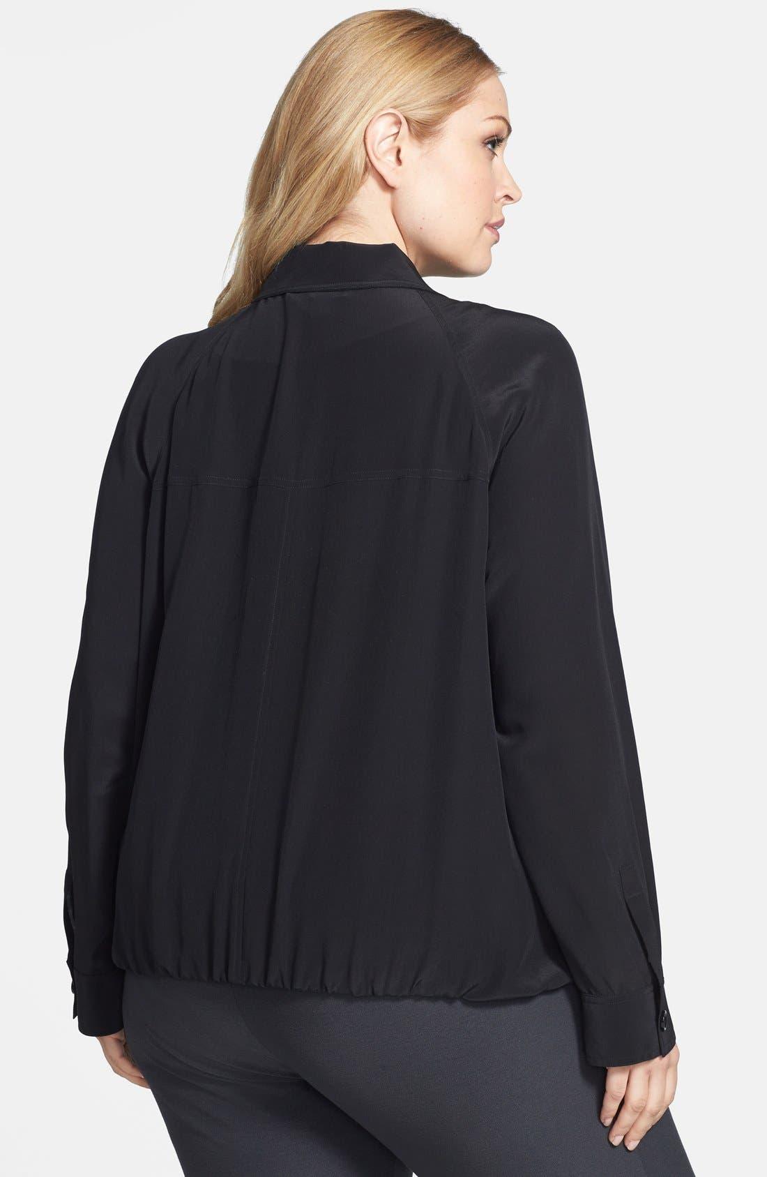 Alternate Image 2  - Eileen Fisher Stand Collar Silk Jacket (Plus Size)