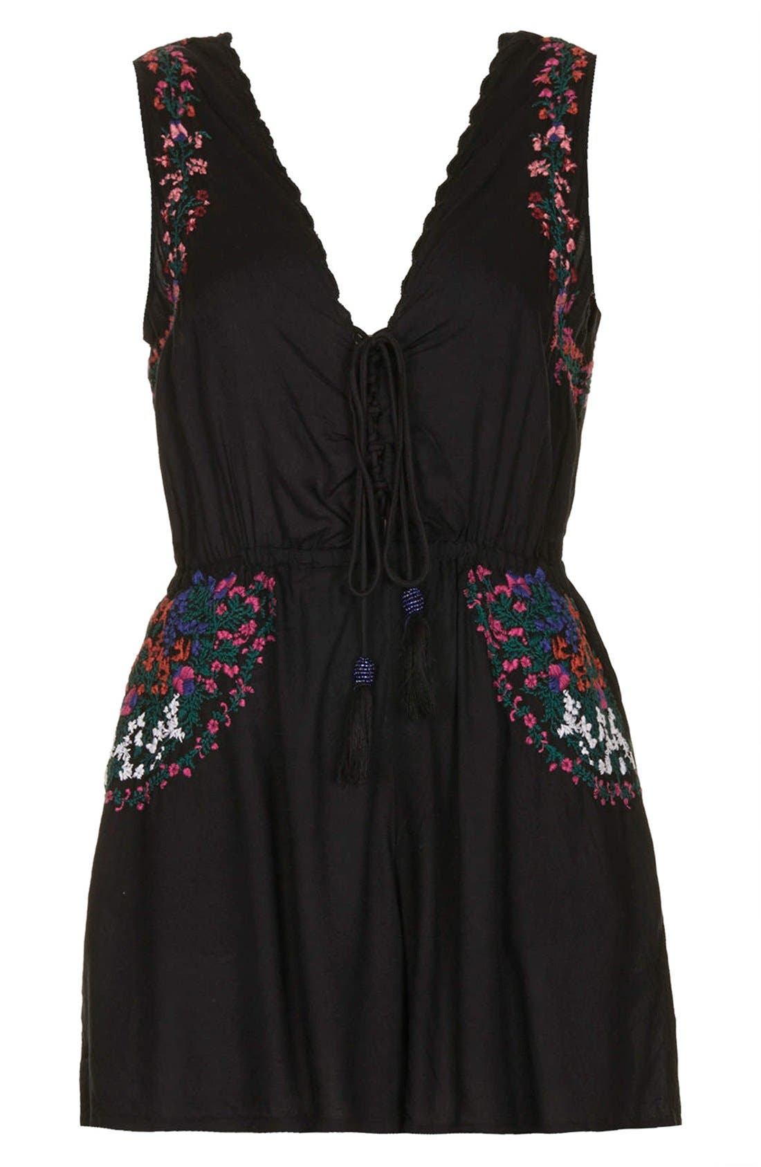 Alternate Image 3  - Topshop Lace-Up Front Embroidered Romper