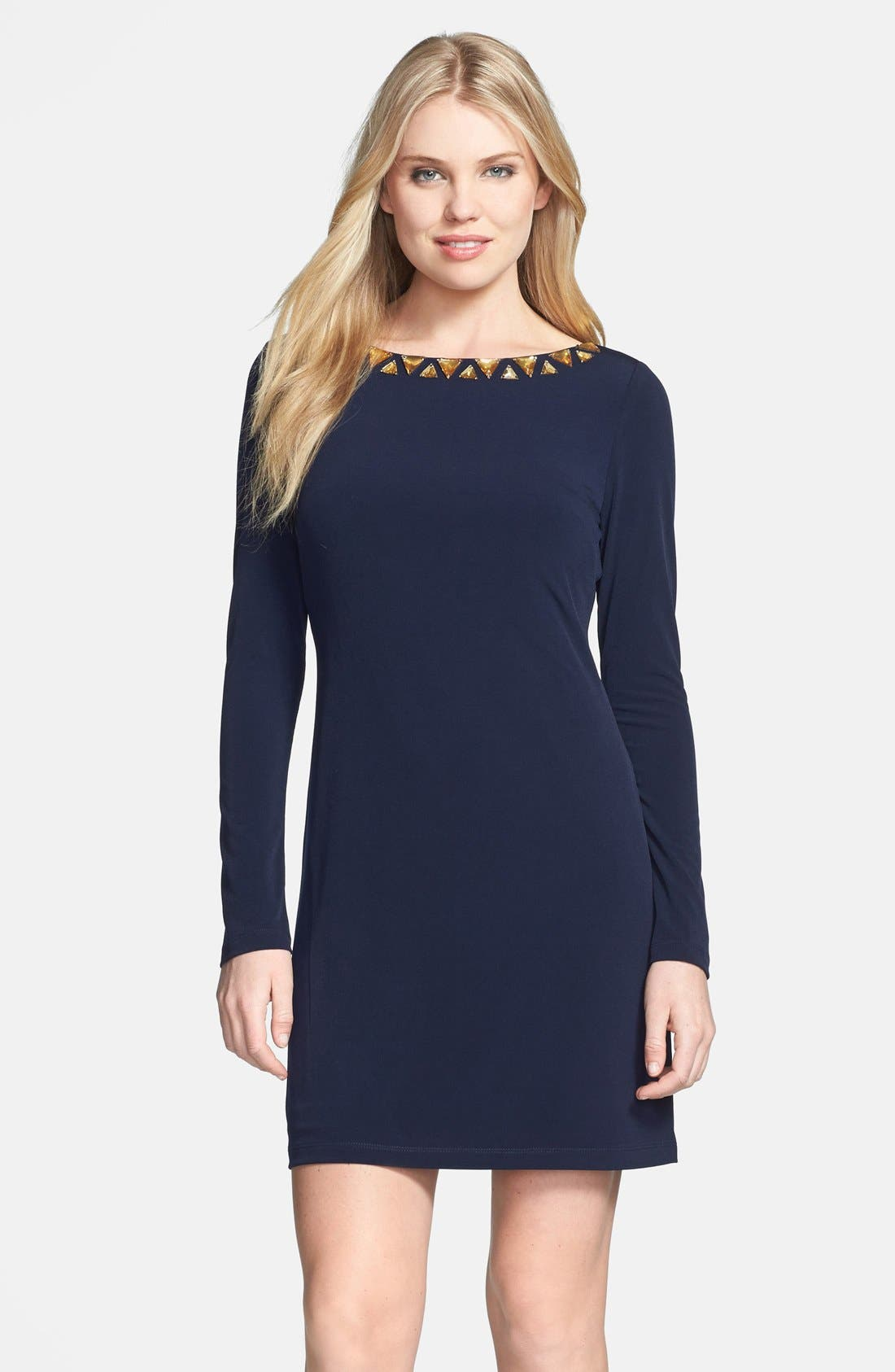 Alternate Image 1 Selected - Vince Camuto Embellished Neckline Matte Jersey Dress