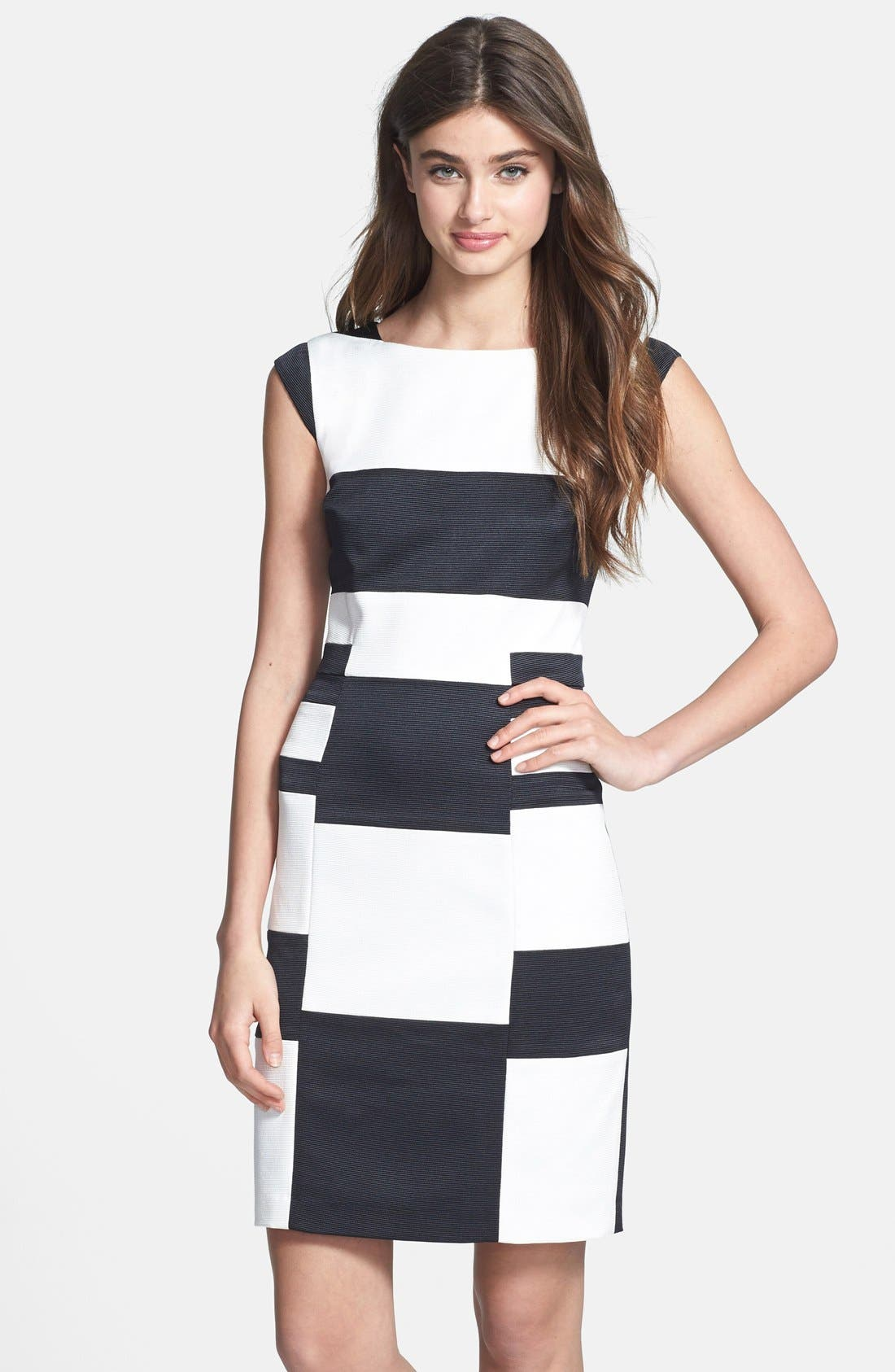 Main Image - Ivy & Blu Colorblock Cap Sleeve Sheath Dress