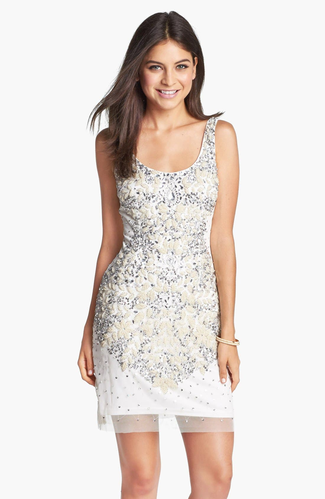 Alternate Image 1 Selected - Adrianna Papell Embellished Mesh Tank Dress
