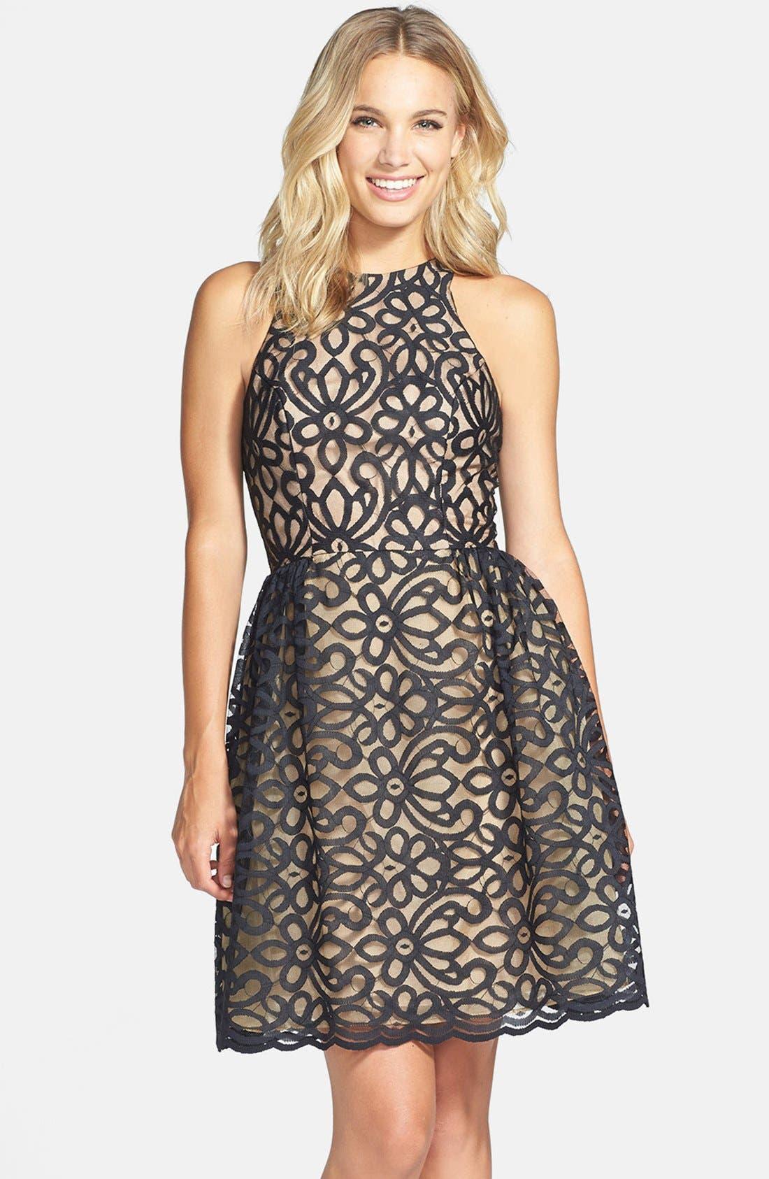 Main Image - ML Monique Lhuillier Bridesmaids Lace Fit & Flare Dress