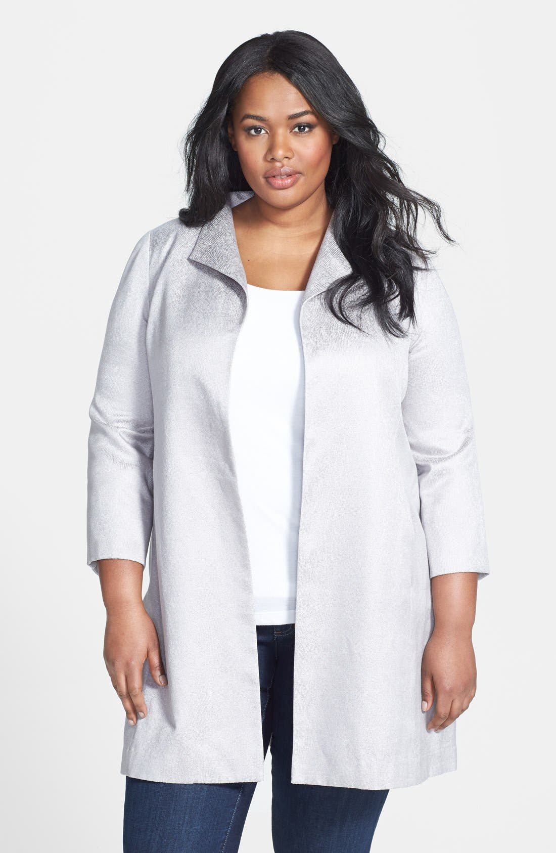 Alternate Image 1 Selected - Eileen Fisher Jacquard Coat (Plus Size)