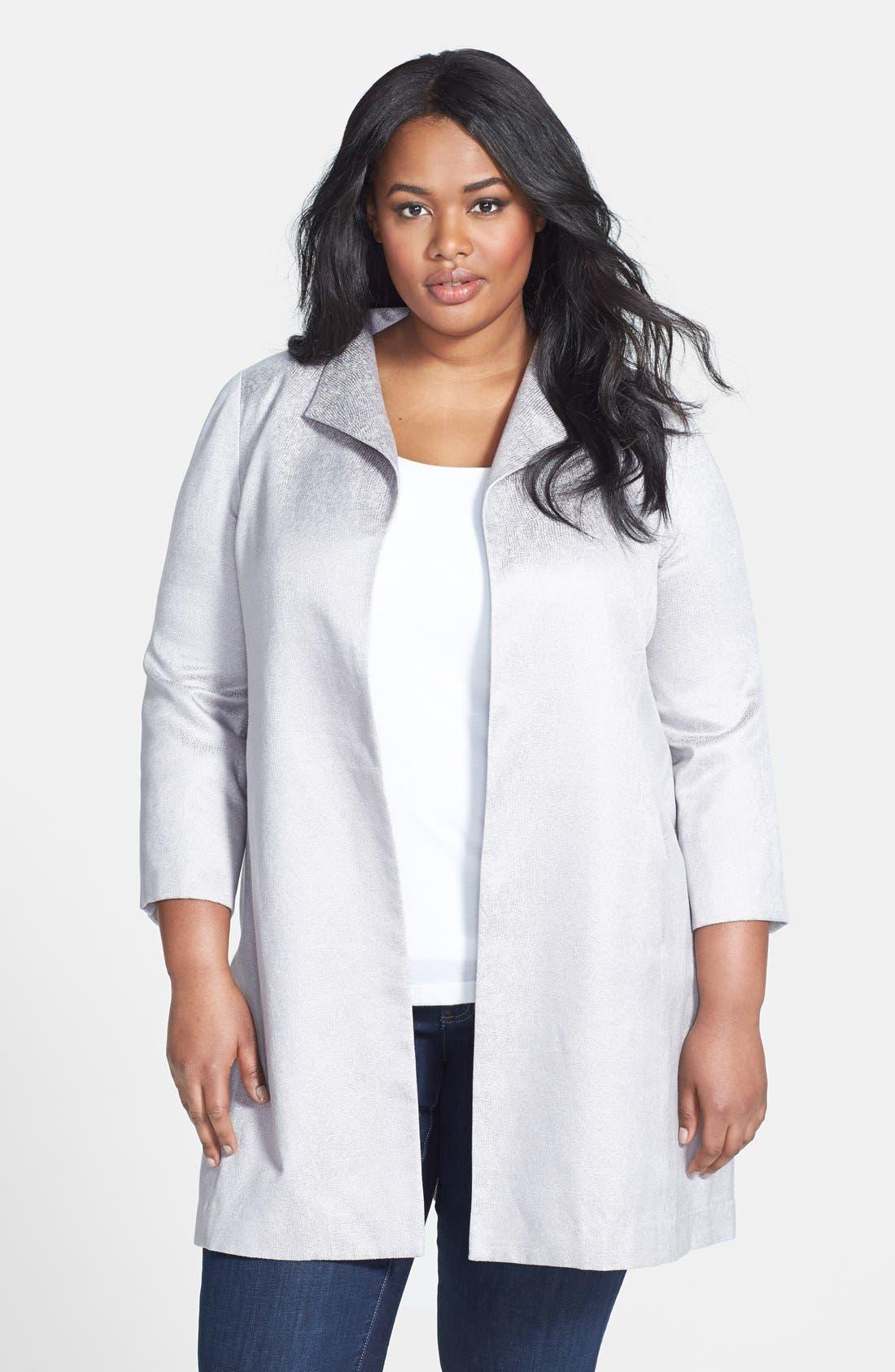 Main Image - Eileen Fisher Jacquard Coat (Plus Size)