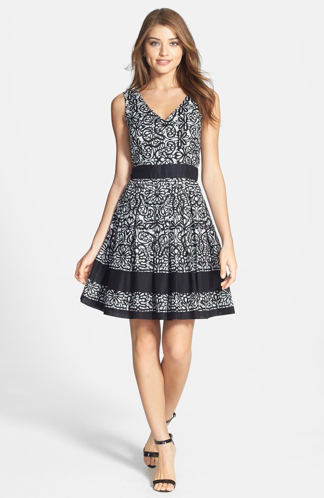Alternate Image 3  - Taylor Dresses Print Cotton Voile Fit & Flare Dress