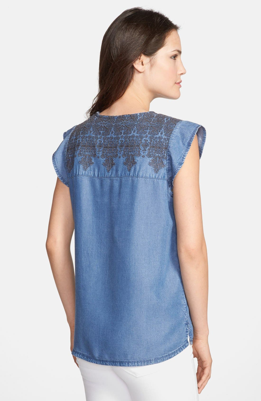 Alternate Image 2  - Hinge® Embroidered Denim Top