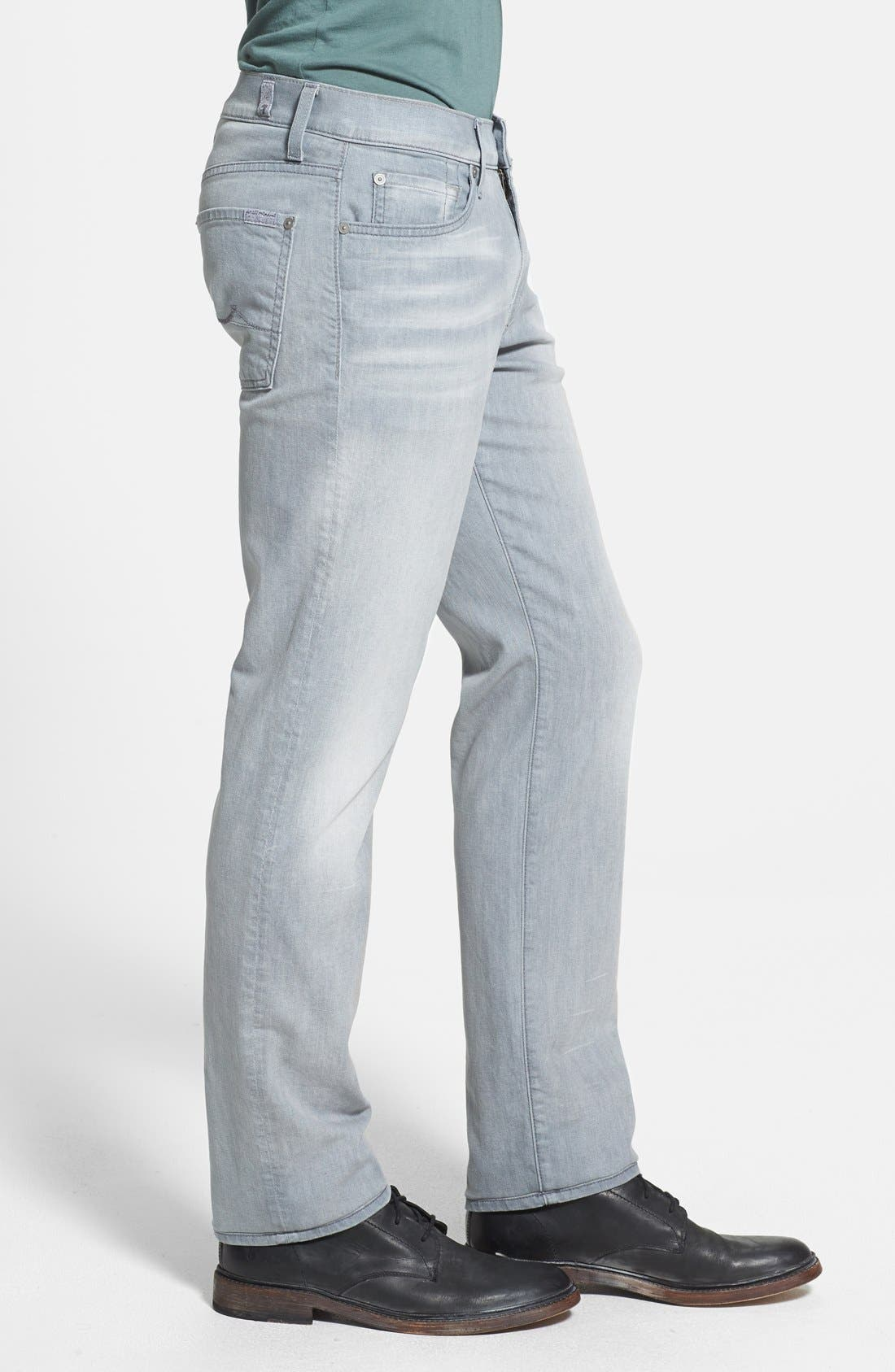Alternate Image 3  - 7 For All Mankind® 'Slimmy' Slim Straight Leg Jeans (Ghost Grey)