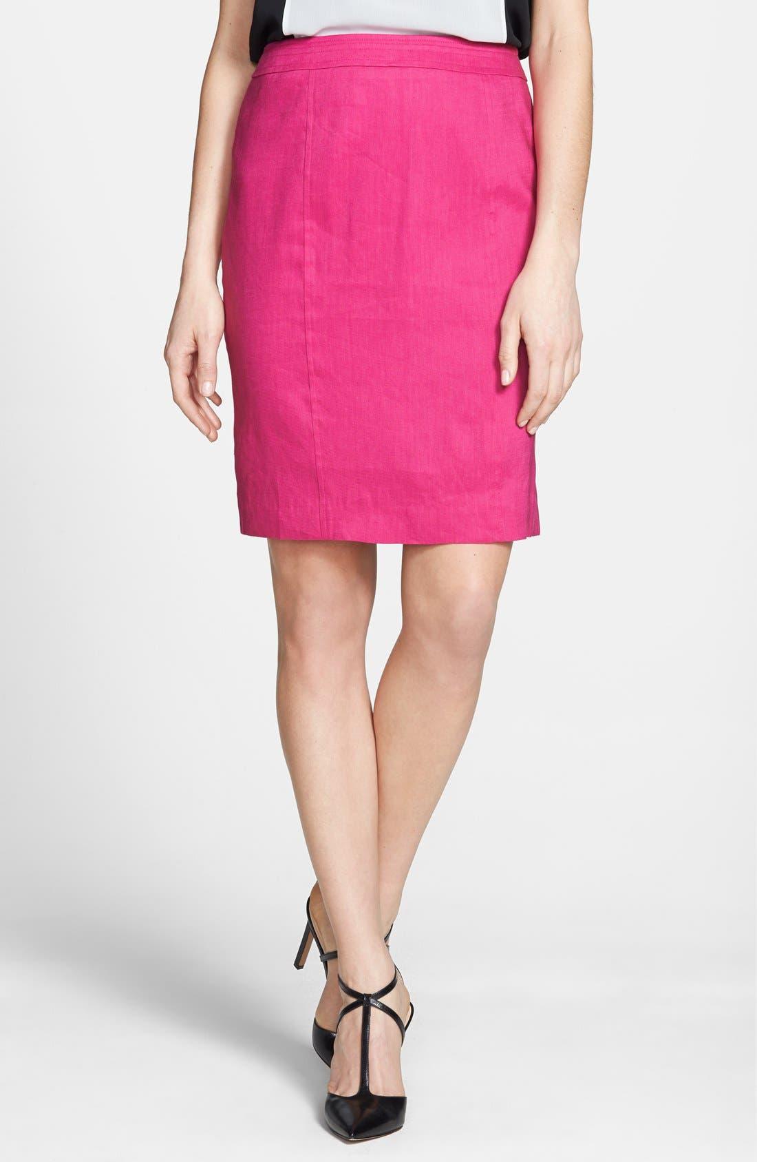 Alternate Image 1 Selected - Halogen® Linen Blend Pencil Skirt (Regular & Petite)