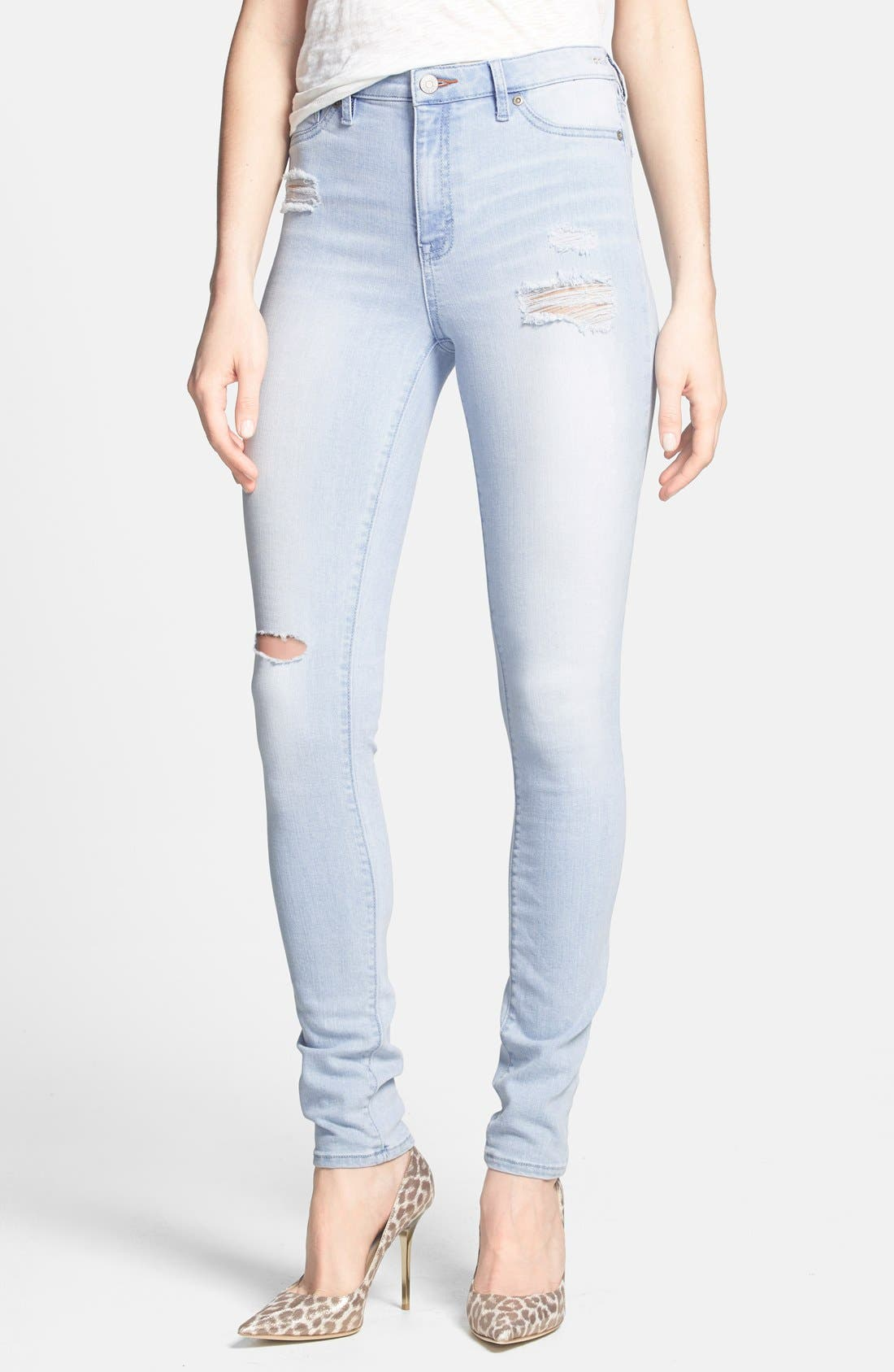 Alternate Image 1 Selected - Dittos 'Jessica' Destroyed Skinny Jeans (Enzyme Bleach Destructed)
