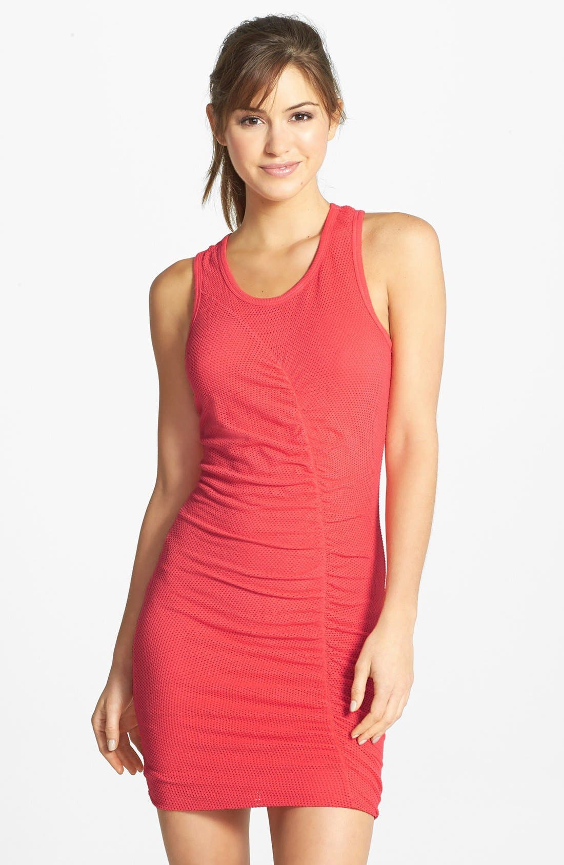 Alternate Image 1 Selected - Solow Shirred Mesh Racerback Body-Con Minidress