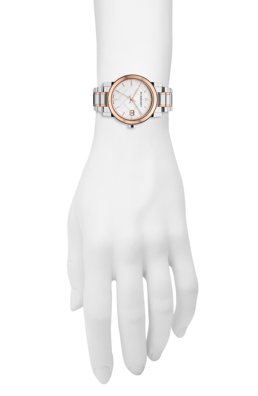 Alternate Image 4  - Burberry Medium Check Stamped Bracelet Watch, 34mm