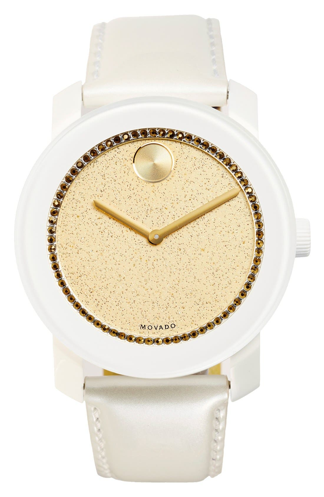 Alternate Image 1 Selected - Movado 'Bold' Glitter Dial Leather Strap Watch, 42mm