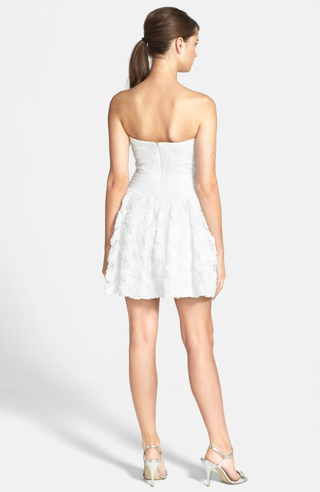 Alternate Image 2  - Hailey by Adrianna Papell Strapless Floral Embroidered Dress
