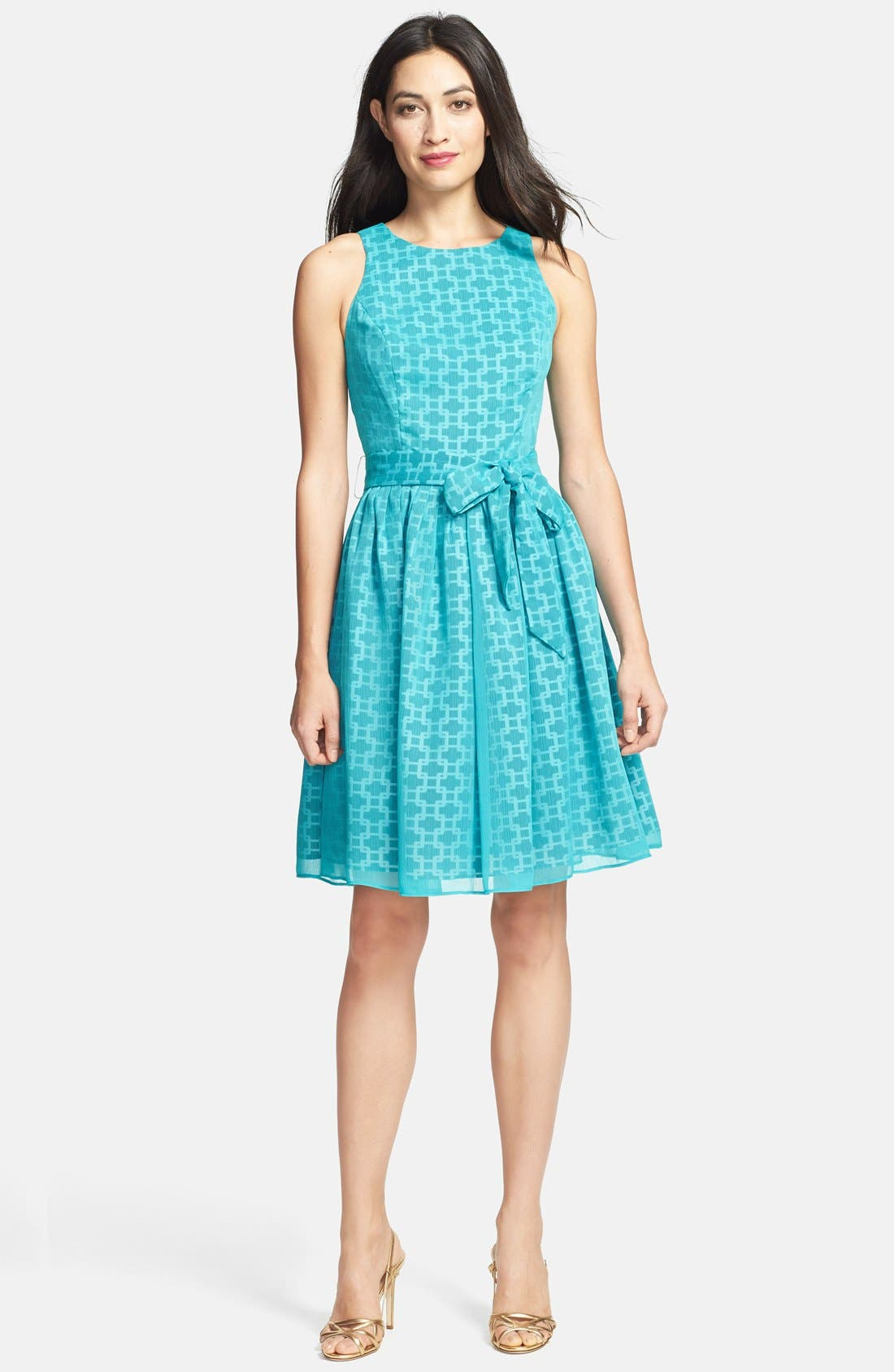 Alternate Image 1 Selected - Isaac Mizrahi New York Print Chiffon Fit & Flare Dress (Petite)