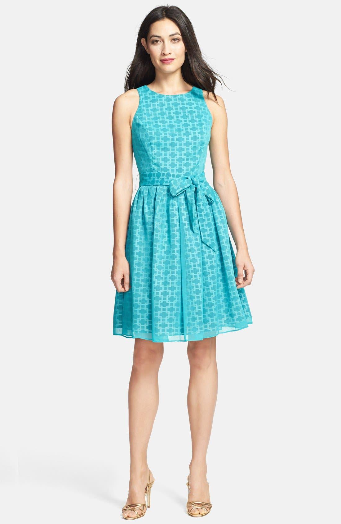 Main Image - Isaac Mizrahi New York Print Chiffon Fit & Flare Dress (Petite)