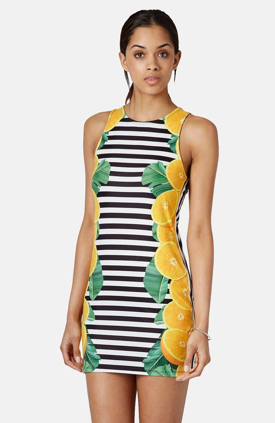 Main Image - Topshop Lemon Stripe Print Body-Con Dress