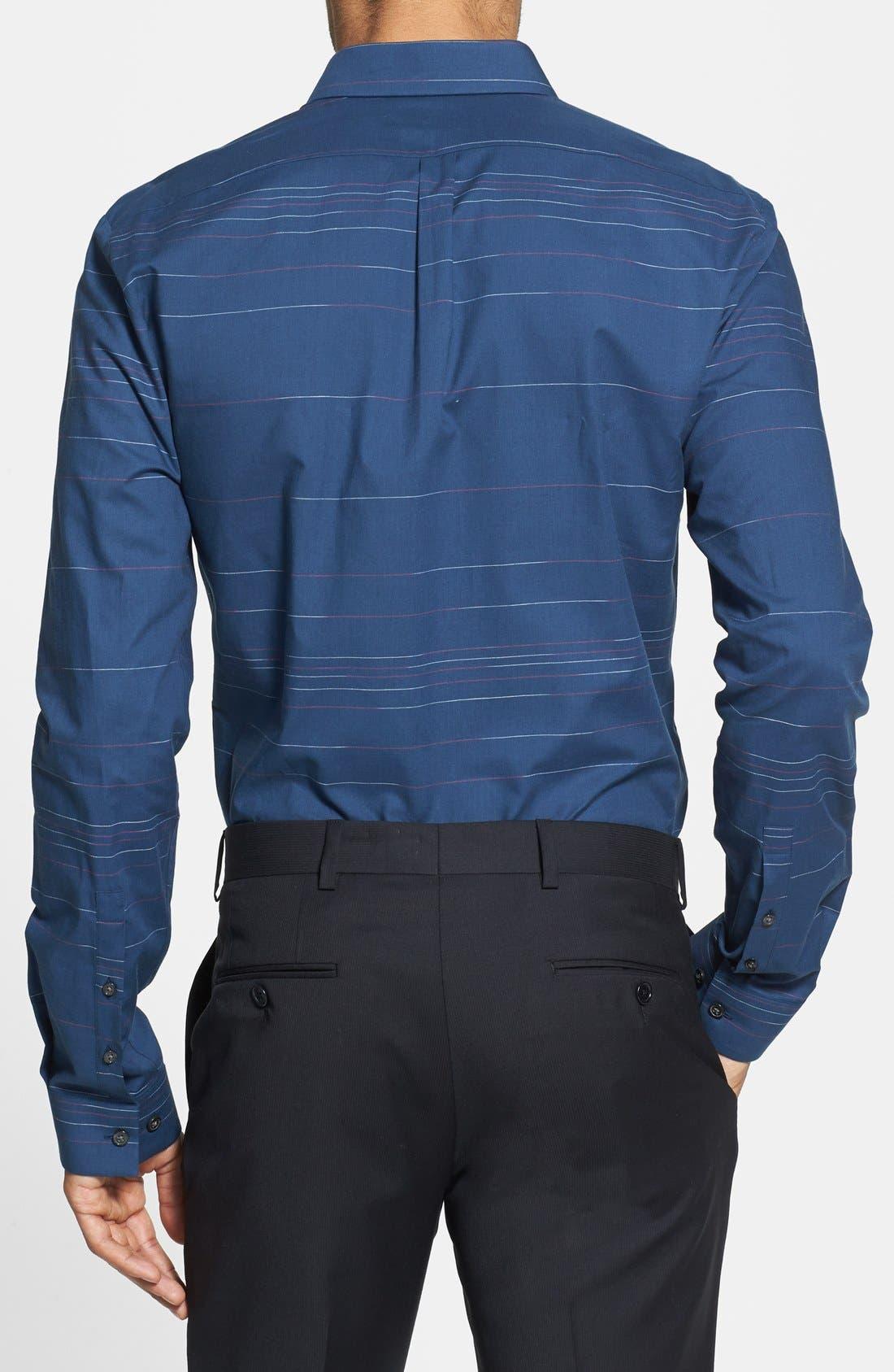 Alternate Image 2  - HUGO 'Ero' Slim Fit Stripe Sport Shirt