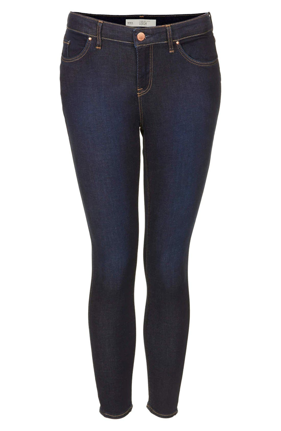 Alternate Image 3  - Topshop Moto 'Leigh' Skinny Jeans (Mid Stone) (Petite)