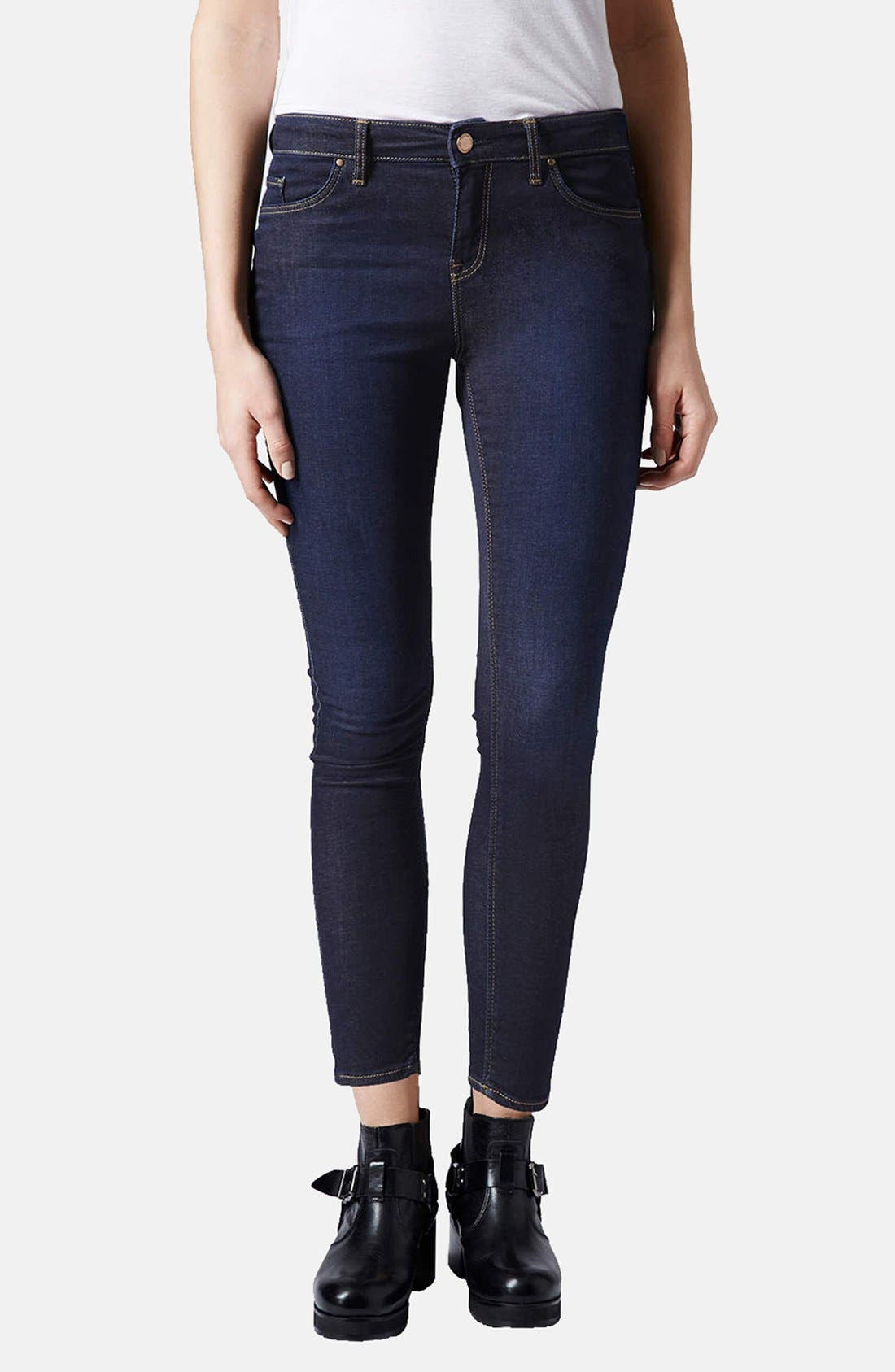 Main Image - Topshop Moto 'Leigh' Skinny Jeans (Mid Stone) (Petite)