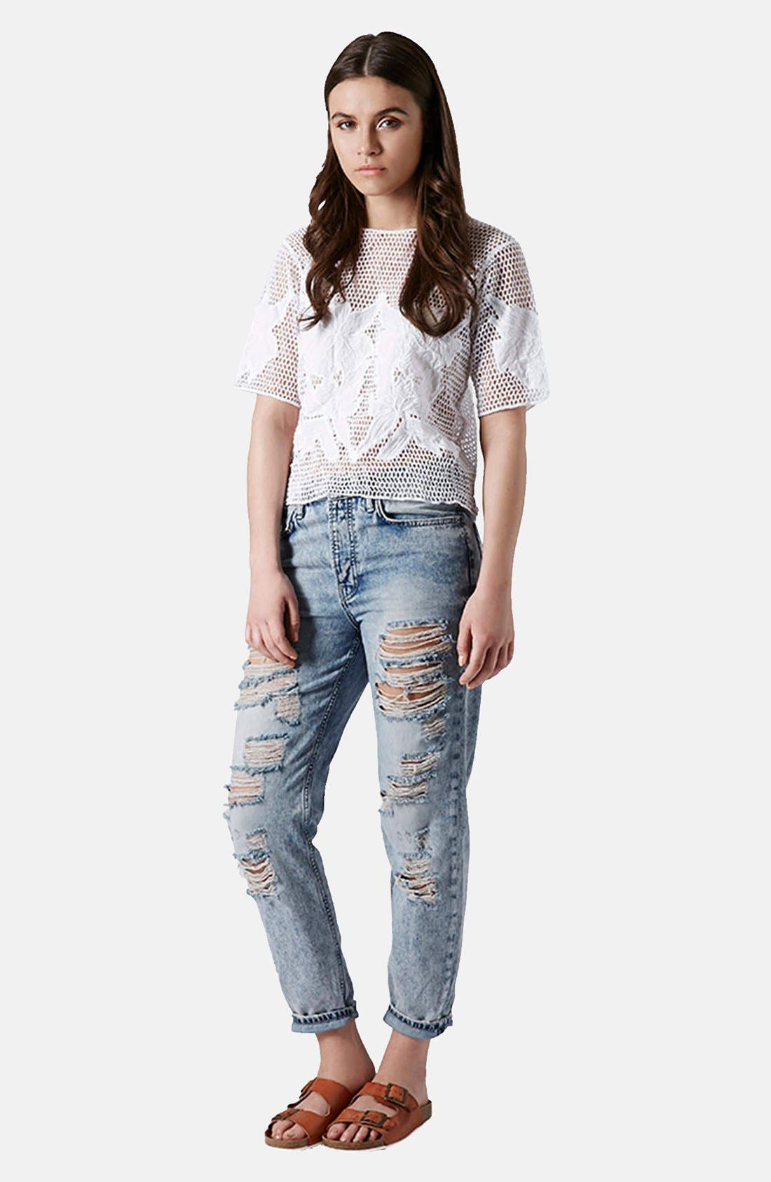 Alternate Image 5  - Topshop Flower Appliqué Open Knit Tee