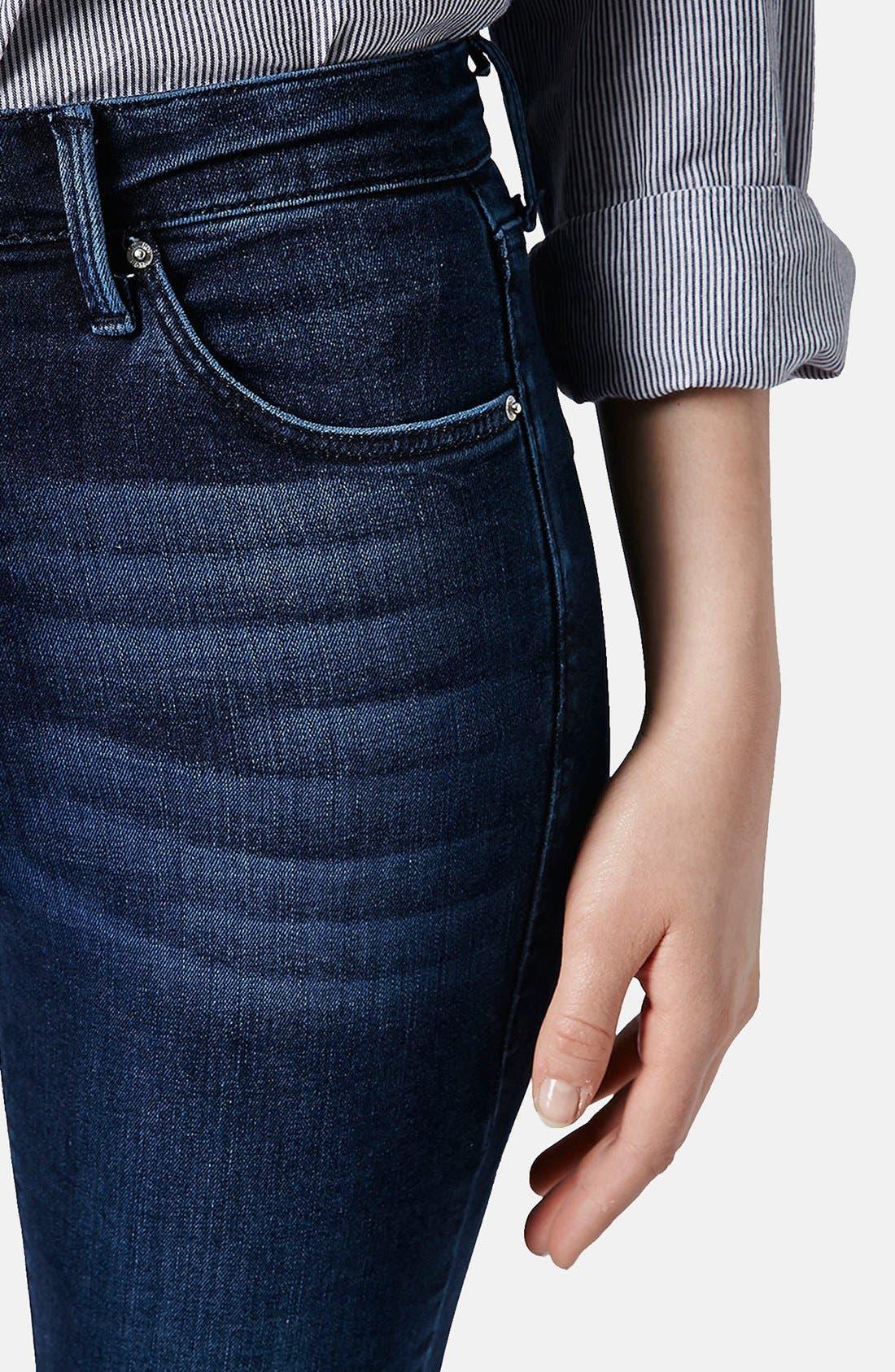 Alternate Image 4  - Topshop Moto 'Jamie' Zip Cuff High Waist Skinny Jeans (Dark)