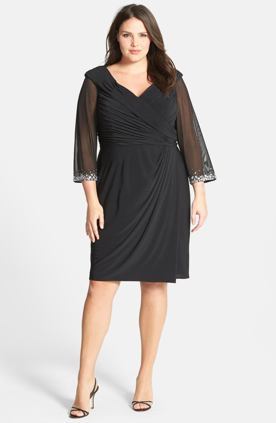 Main Image - Alex Evenings Embellished Portrait Collar Cocktail Dress (Plus Size)