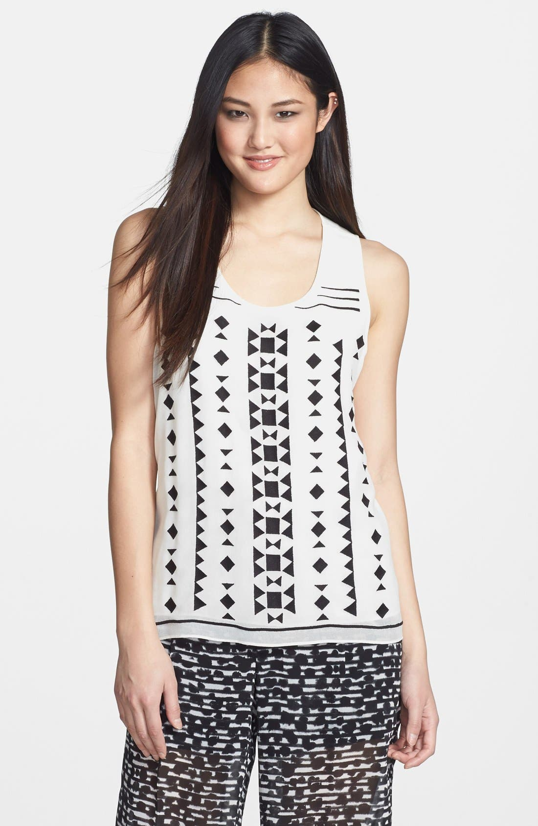 Alternate Image 1 Selected - Vince Camuto Embroidered Woven Tank