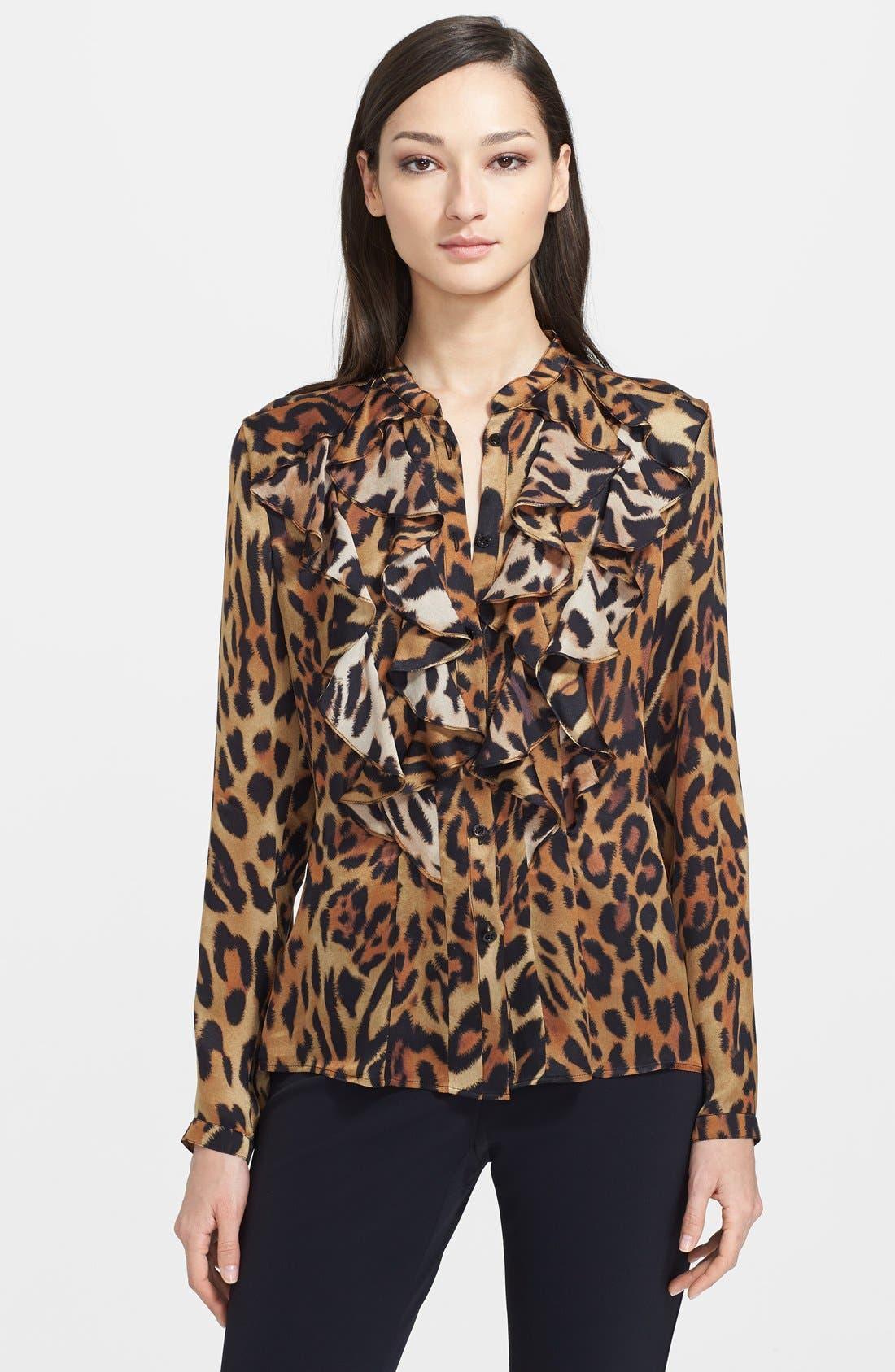 Alternate Image 1 Selected - ESCADA Leopard Print Ruffled Silk Blouse