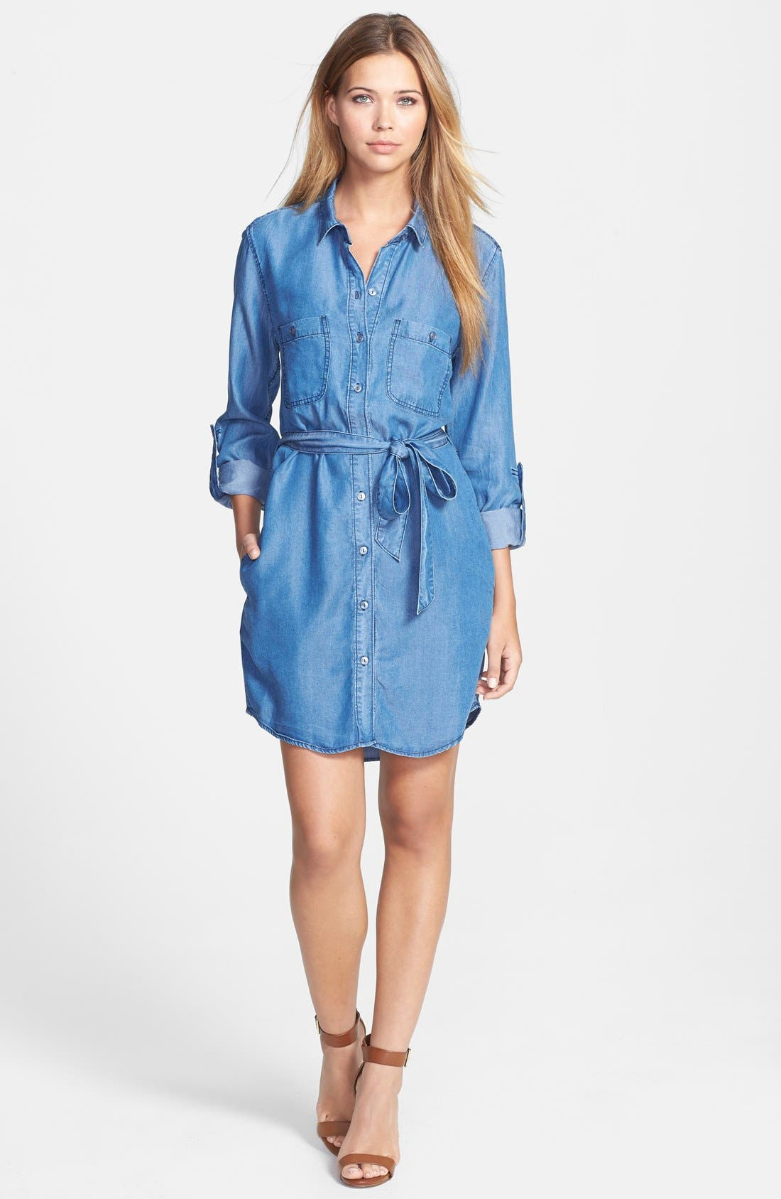 Alternate Image 3  - Velvet Heart Roll Sleeve Chambray Shirtdress