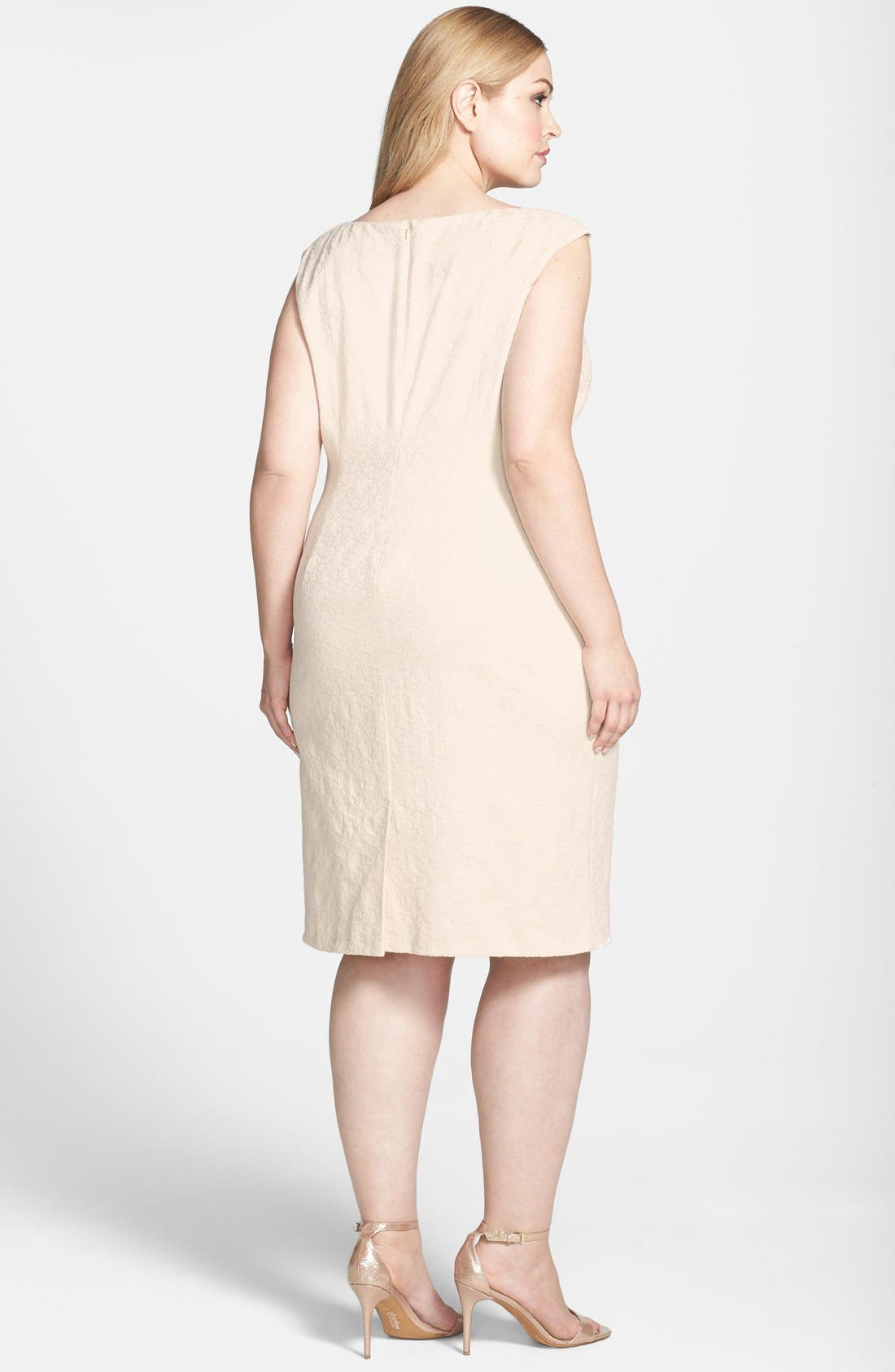 Alternate Image 2  - Adrianna Papell Embellished Neckline Jacquard Sheath Dress (Plus Size)