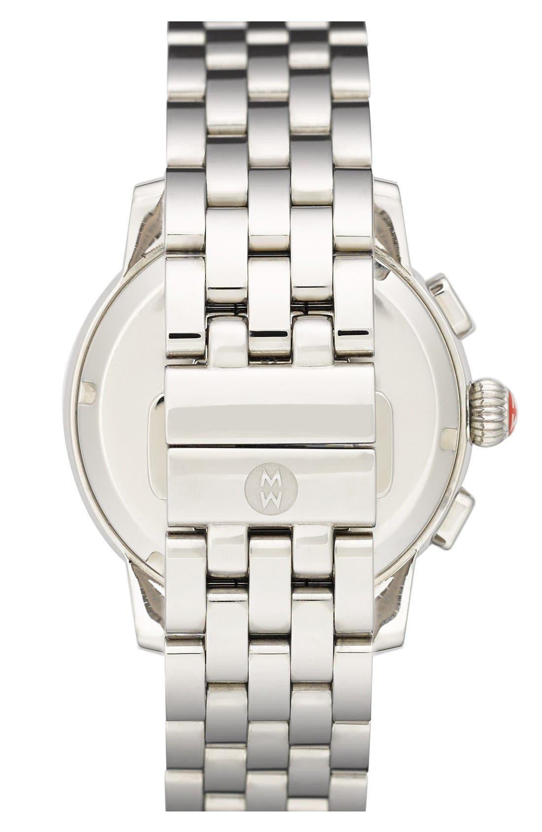 Alternate Image 2  - MICHELE 'Uptown' Diamond Dial Chronograph Watch Case & Bracelet, 39mm