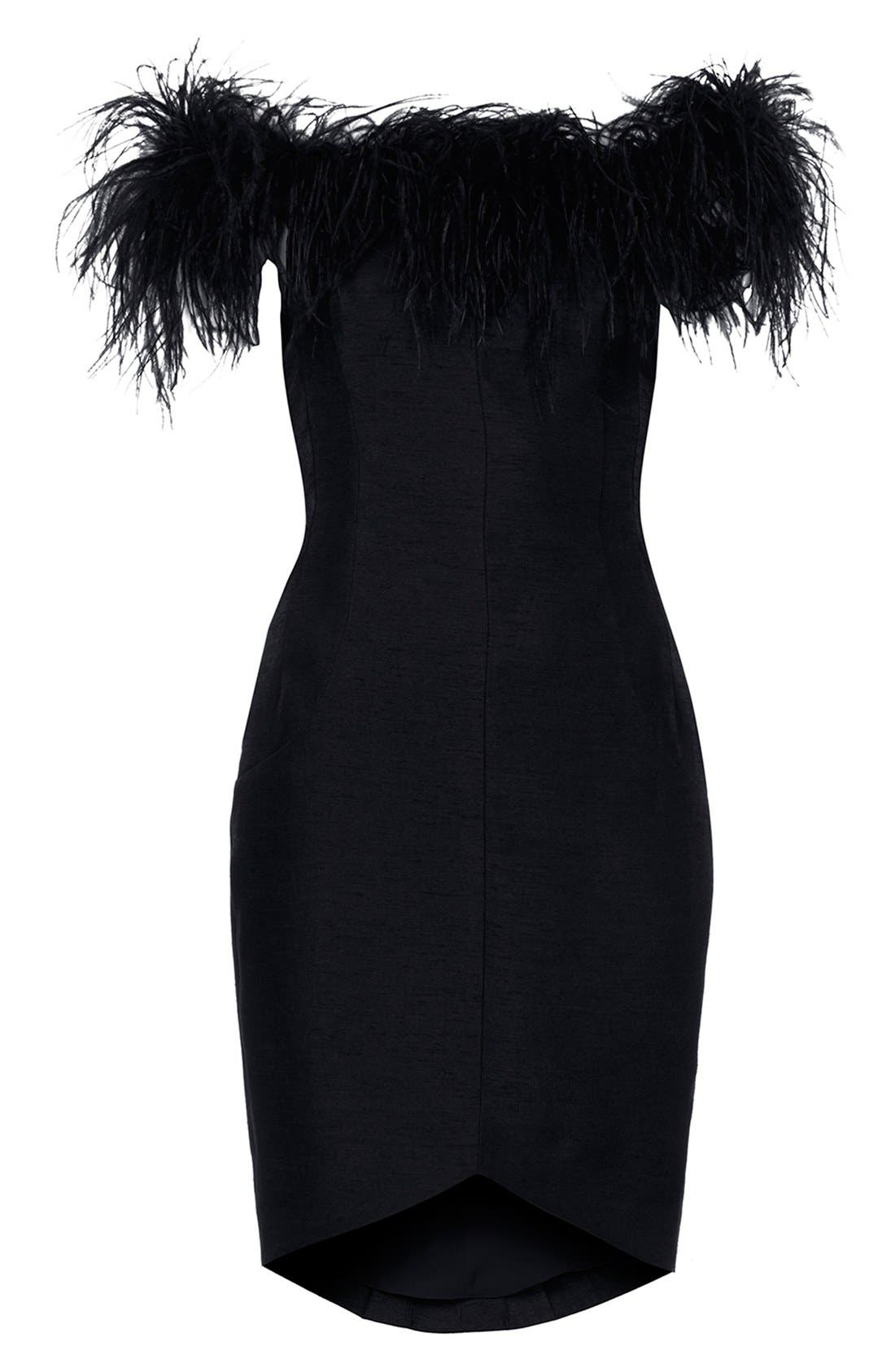 Alternate Image 3  - Kate Moss for Topshop Feather Off Shoulder Cocktail Dress
