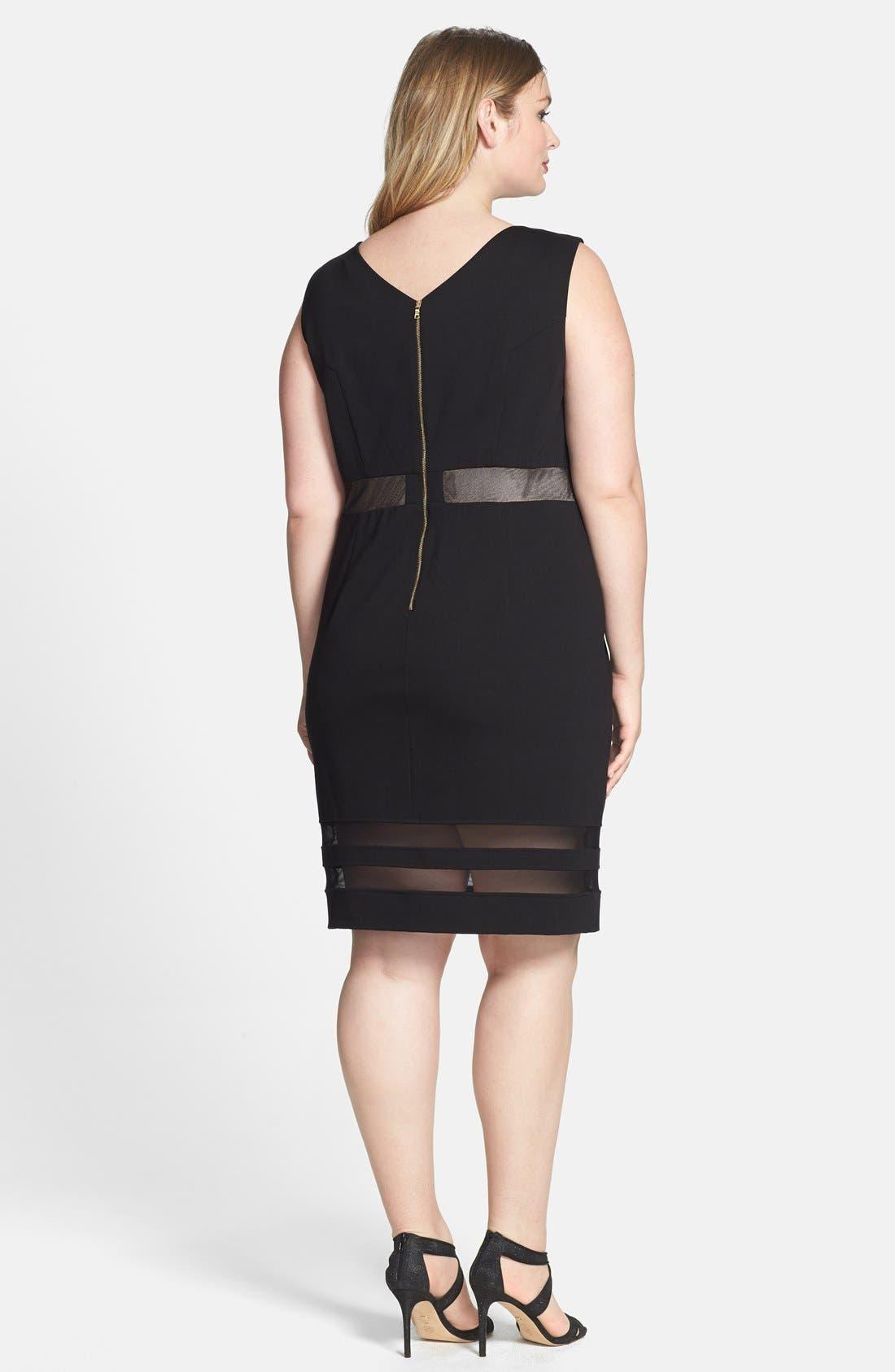 Alternate Image 2  - ABS by Allen Schwartz Illusion Stripe V-Neck Dress (Plus Size)