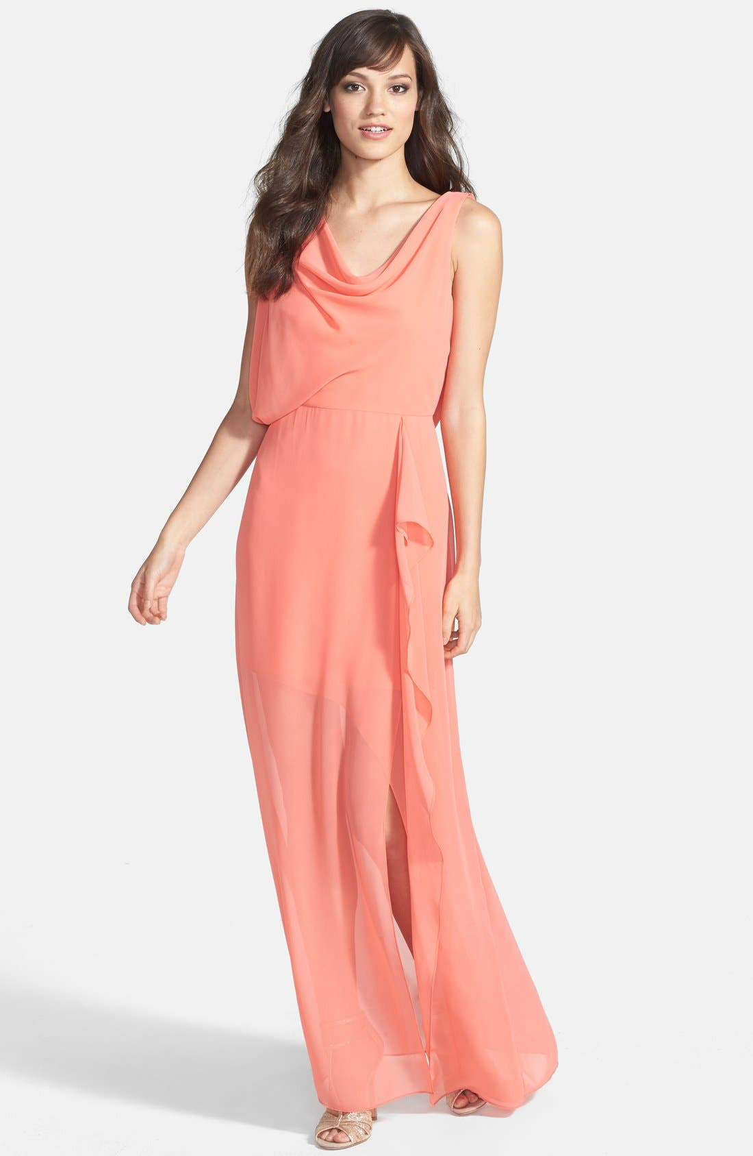 Main Image - Hailey by Adrianna Papell Draped Chiffon Gown