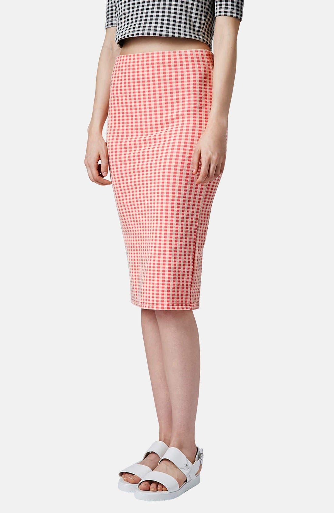 Alternate Image 1 Selected - Topshop Gingham Tube Skirt