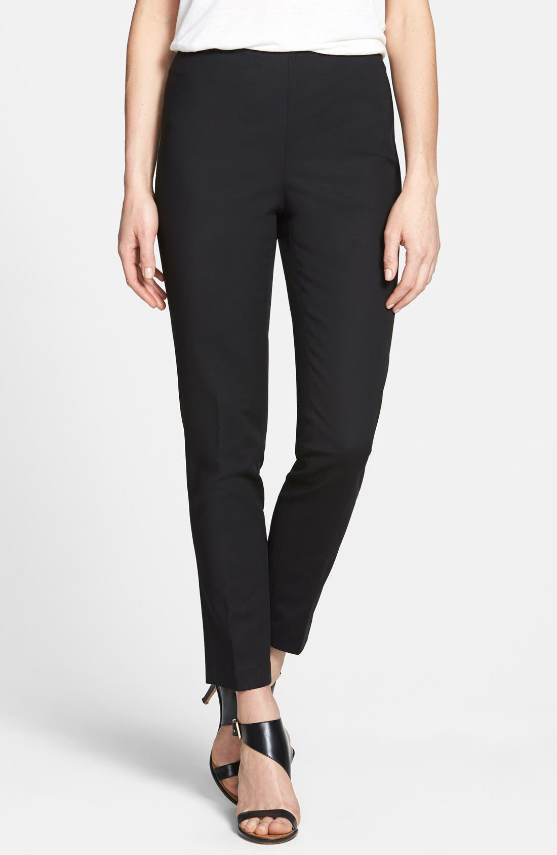 Alternate Image 1 Selected - Vince Camuto Side Zip Double Weave Stretch Cotton Pants (Regular & Petite)